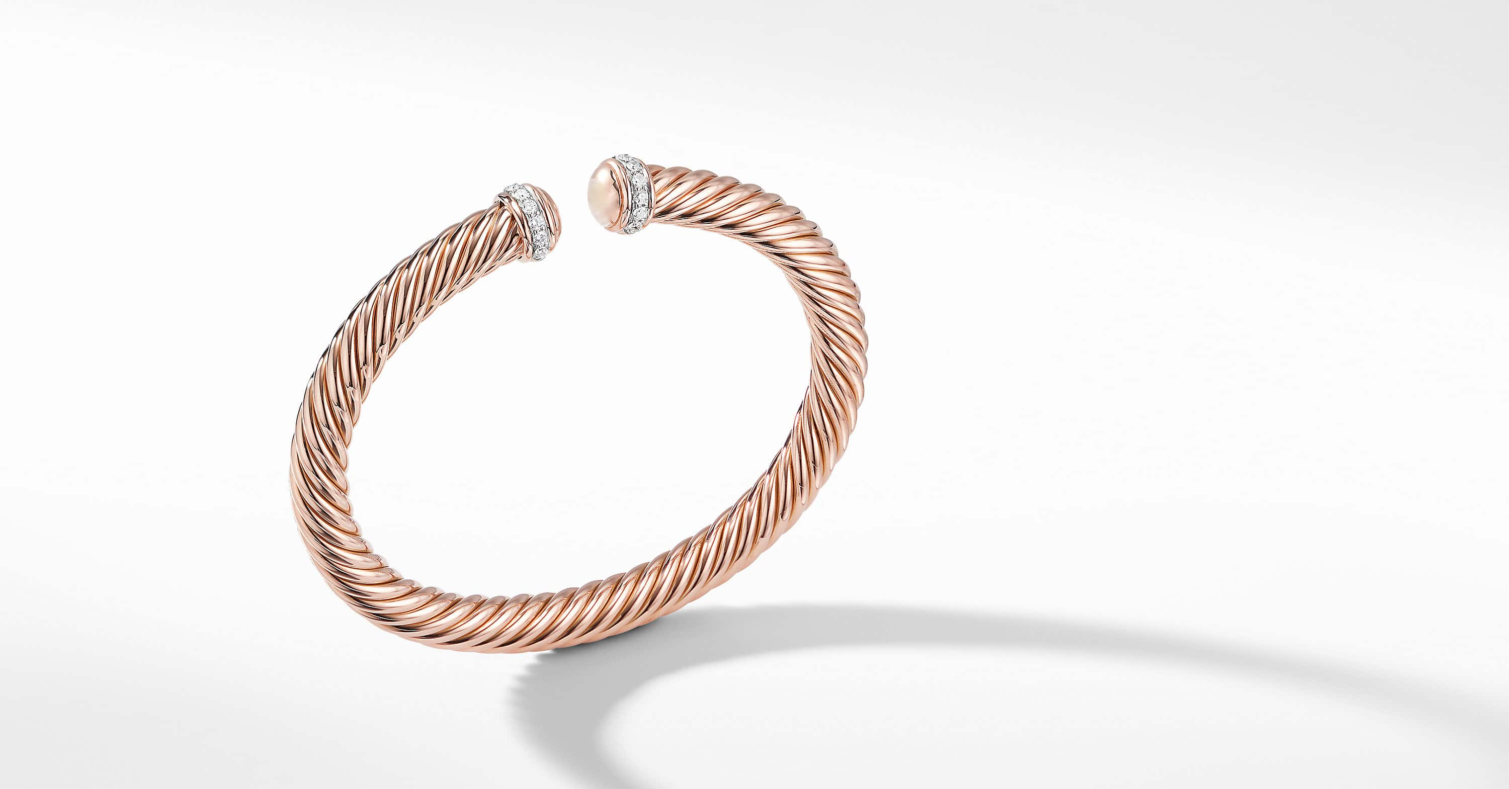 Cable Spira Bracelet with Diamonds in 18K Rose Gold, 7mm