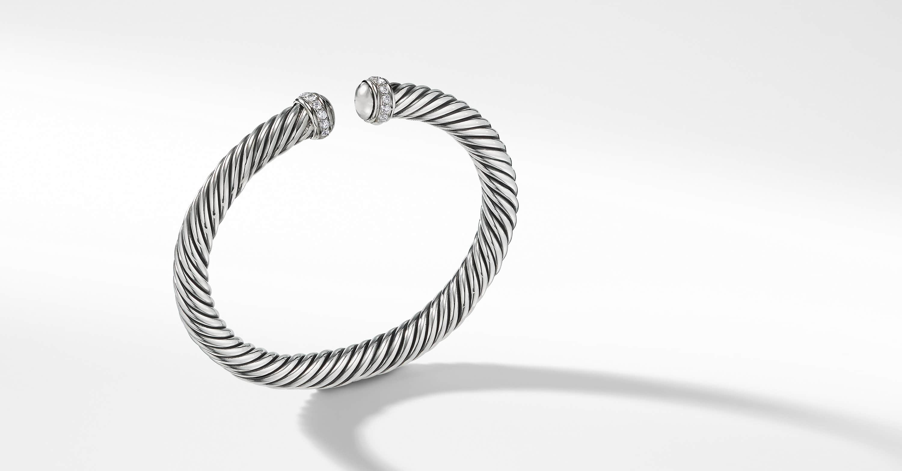 Cable Spira Bracelet with Diamonds, 7mm