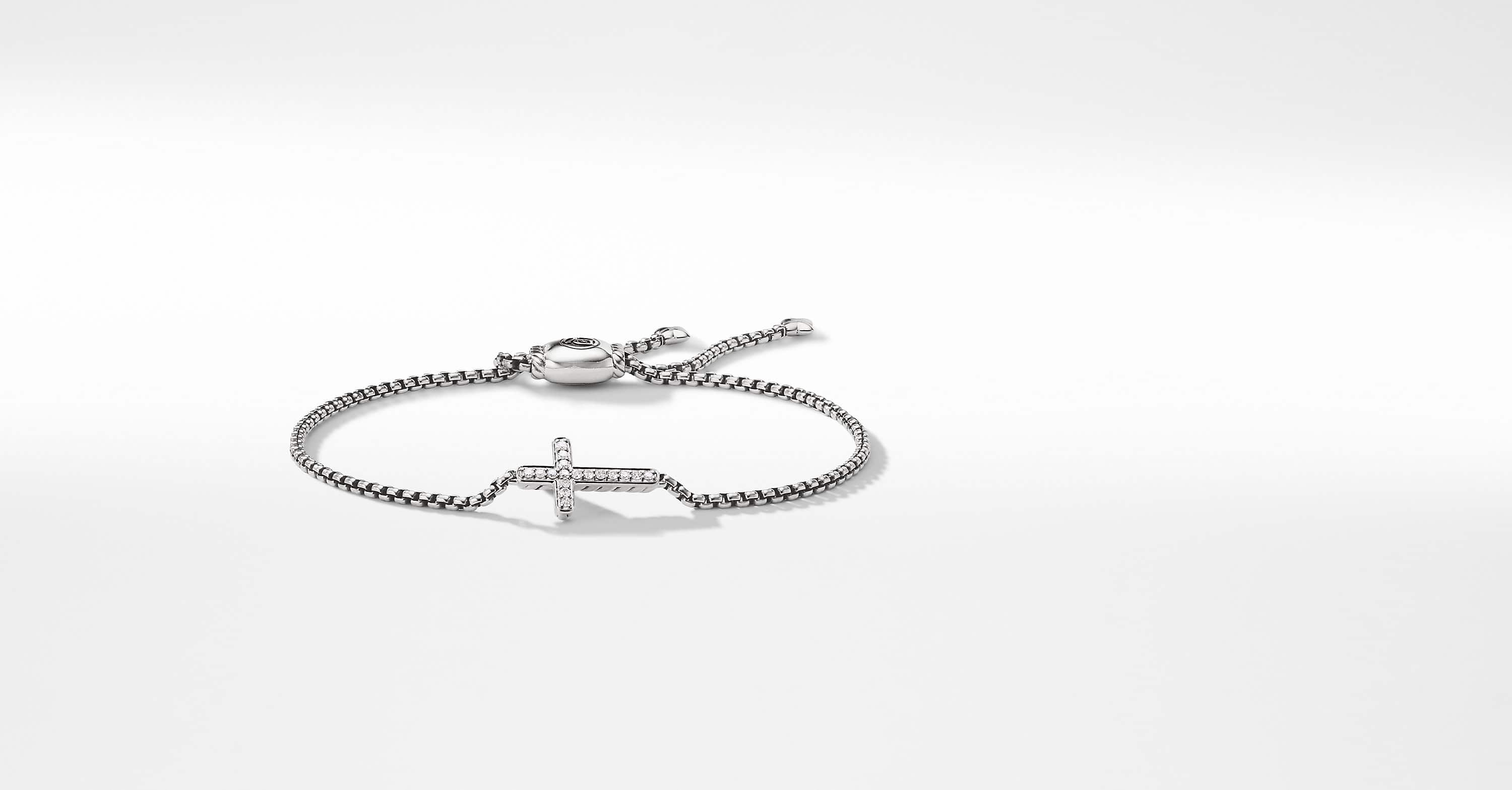 Petite Pave Cross Bracelet with Diamonds