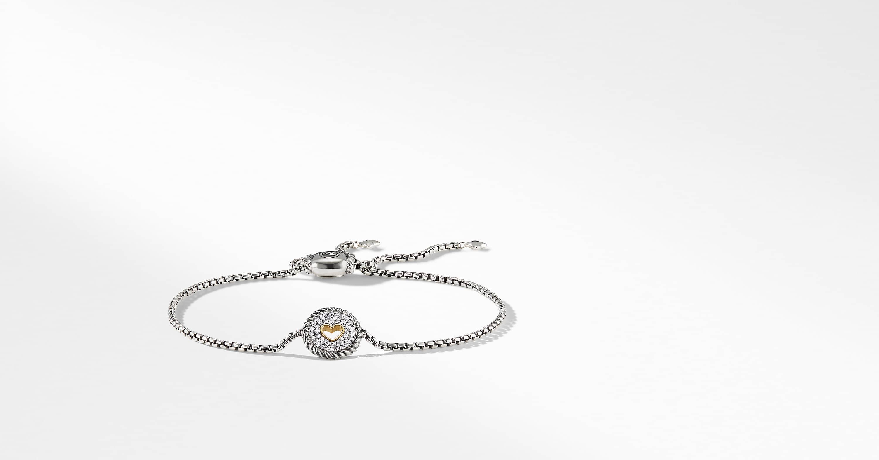 Cable Collectibles Heart Charm Bracelet with Diamonds with 18K Gold