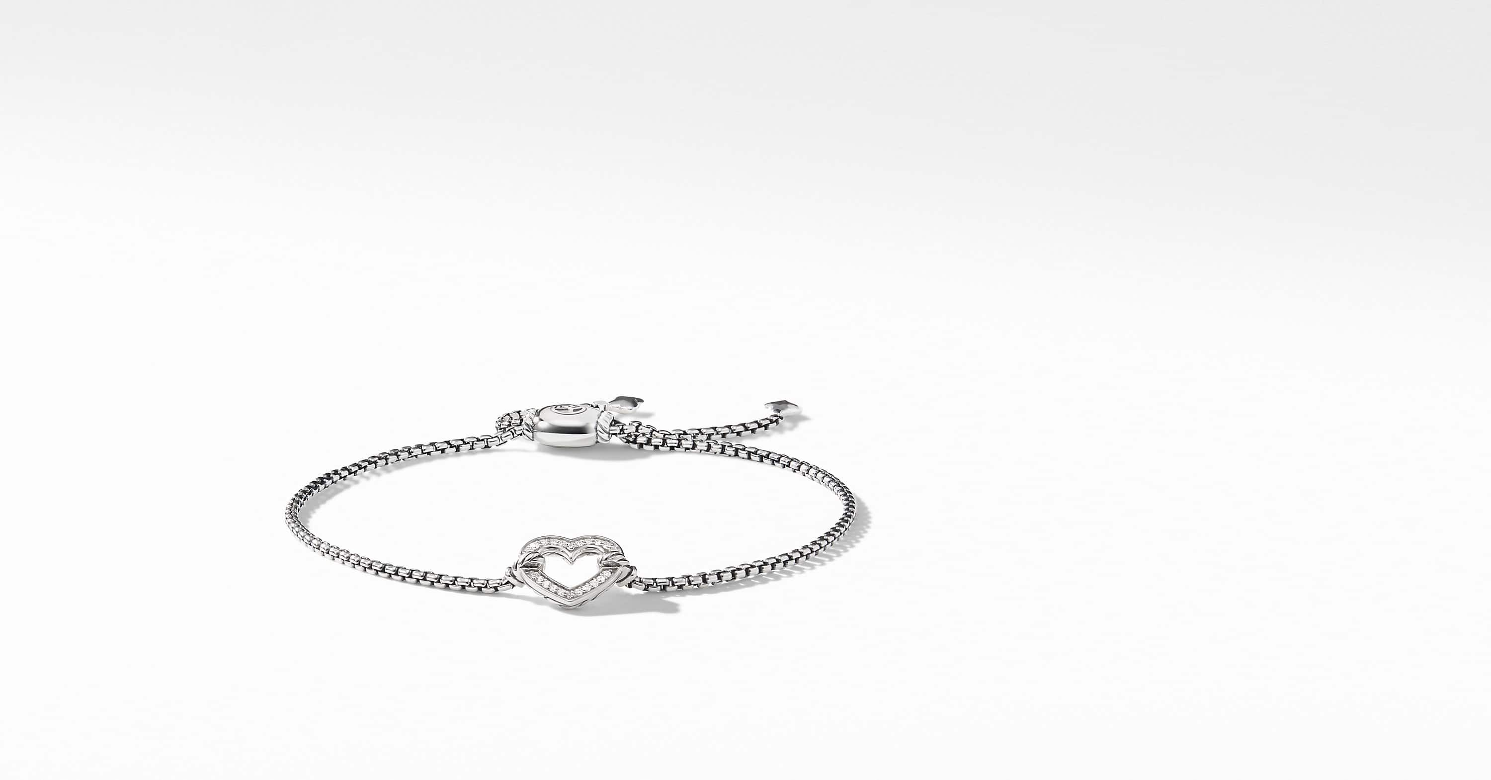 Cable Collectible Heart Station Bracelet with Diamonds