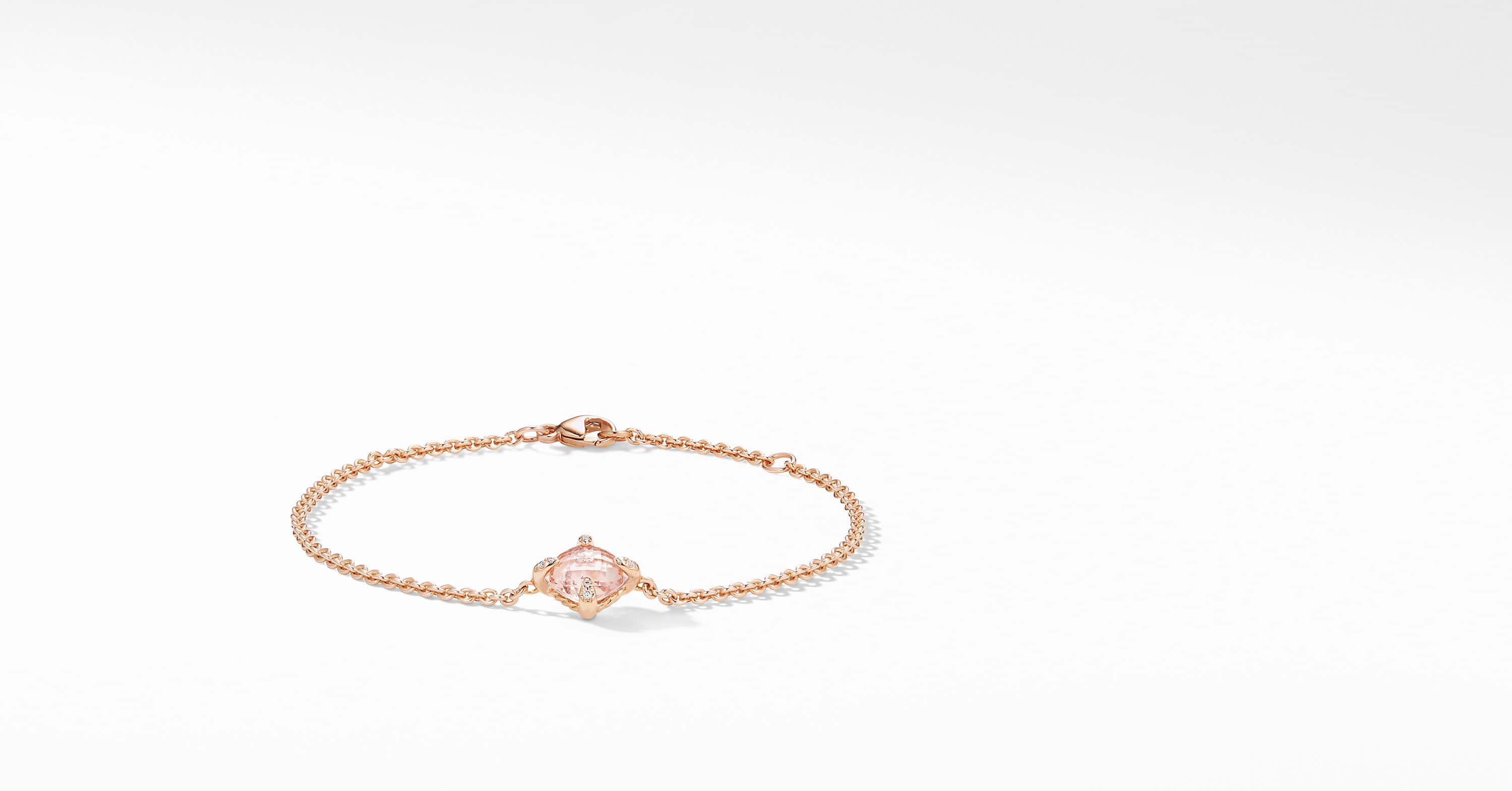Chatelaine Bracelet with Diamonds in 18K Rose Gold, 8mm