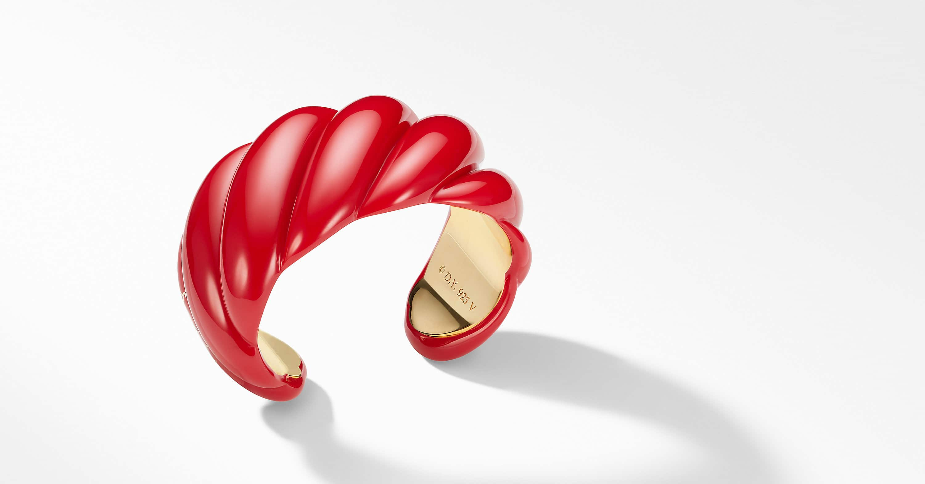 Resin Sculpted Cable Cuff Bracelet with 18K Gold