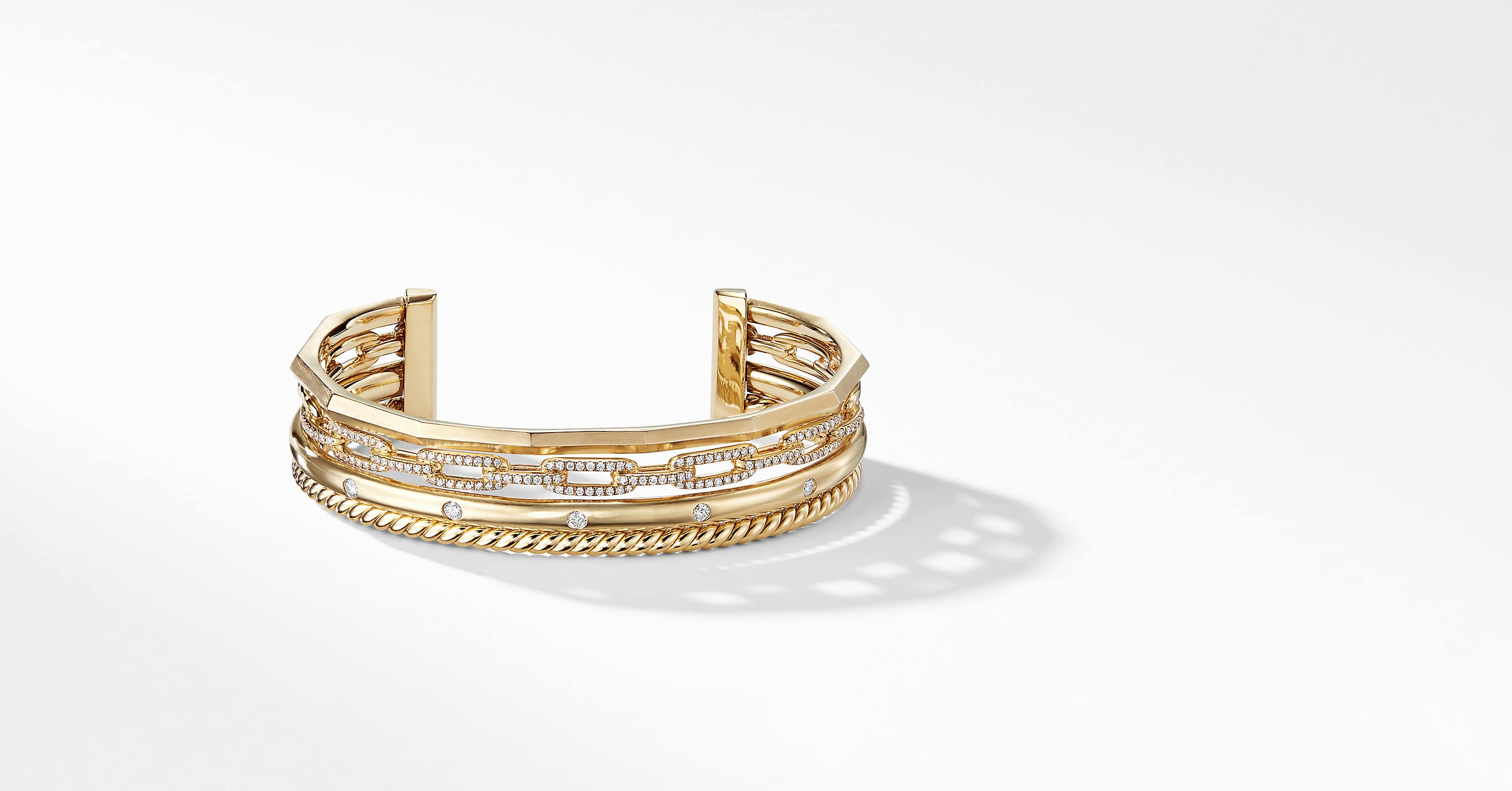 Stax Medium Cuff Bracelet with Diamonds in 18K Gold, 14mm