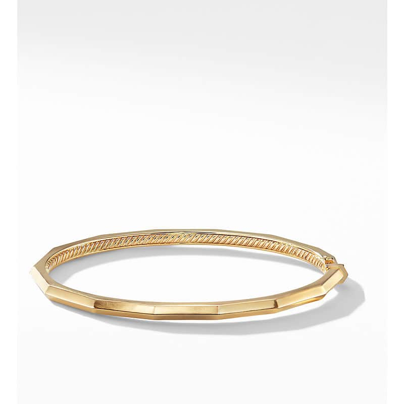 Stax Single Row Faceted Bracelet in 18K Gold, 3mm
