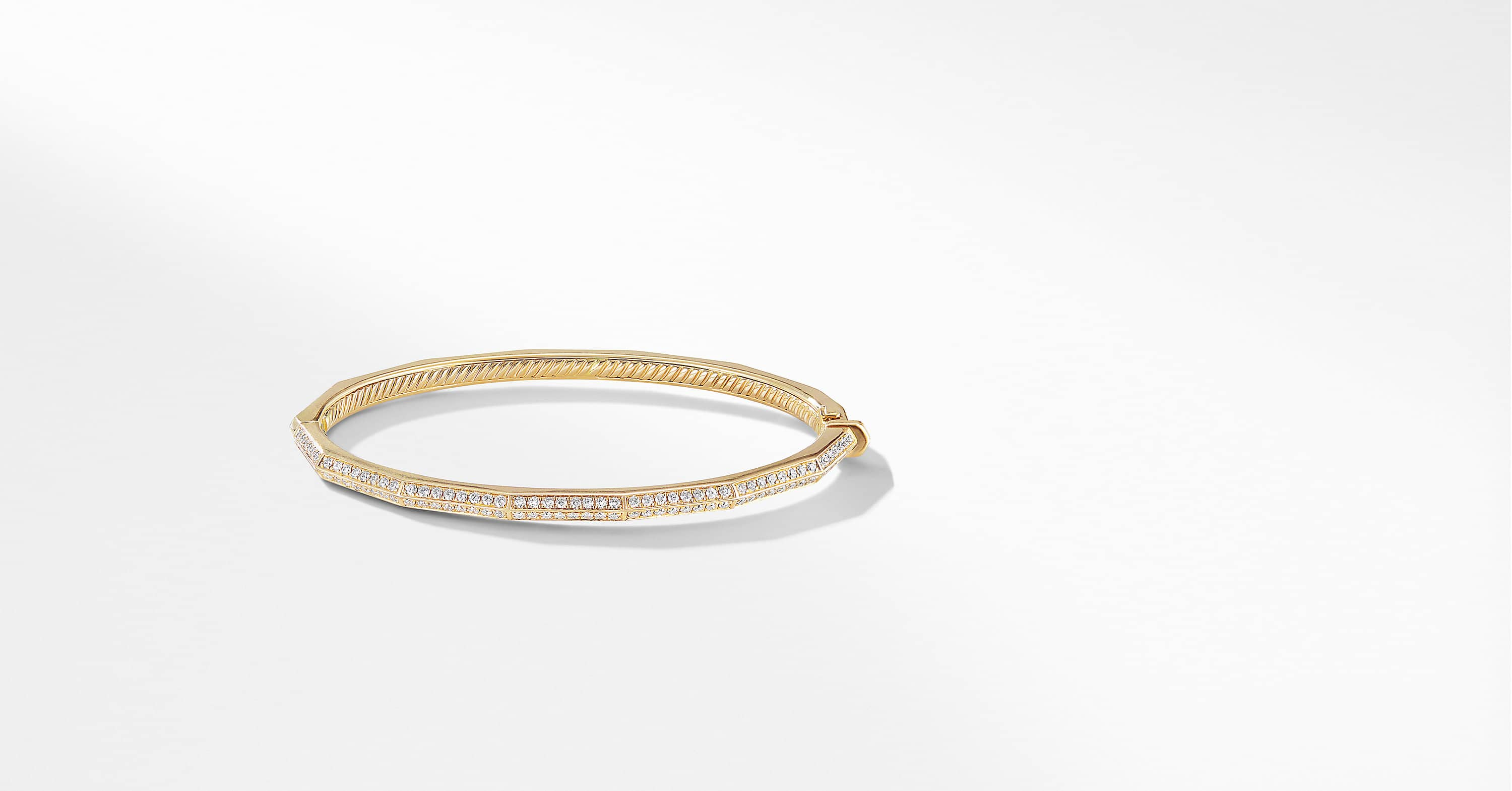 Stax Single Row Faceted Bracelet with Diamonds in 18K Gold, 3mm