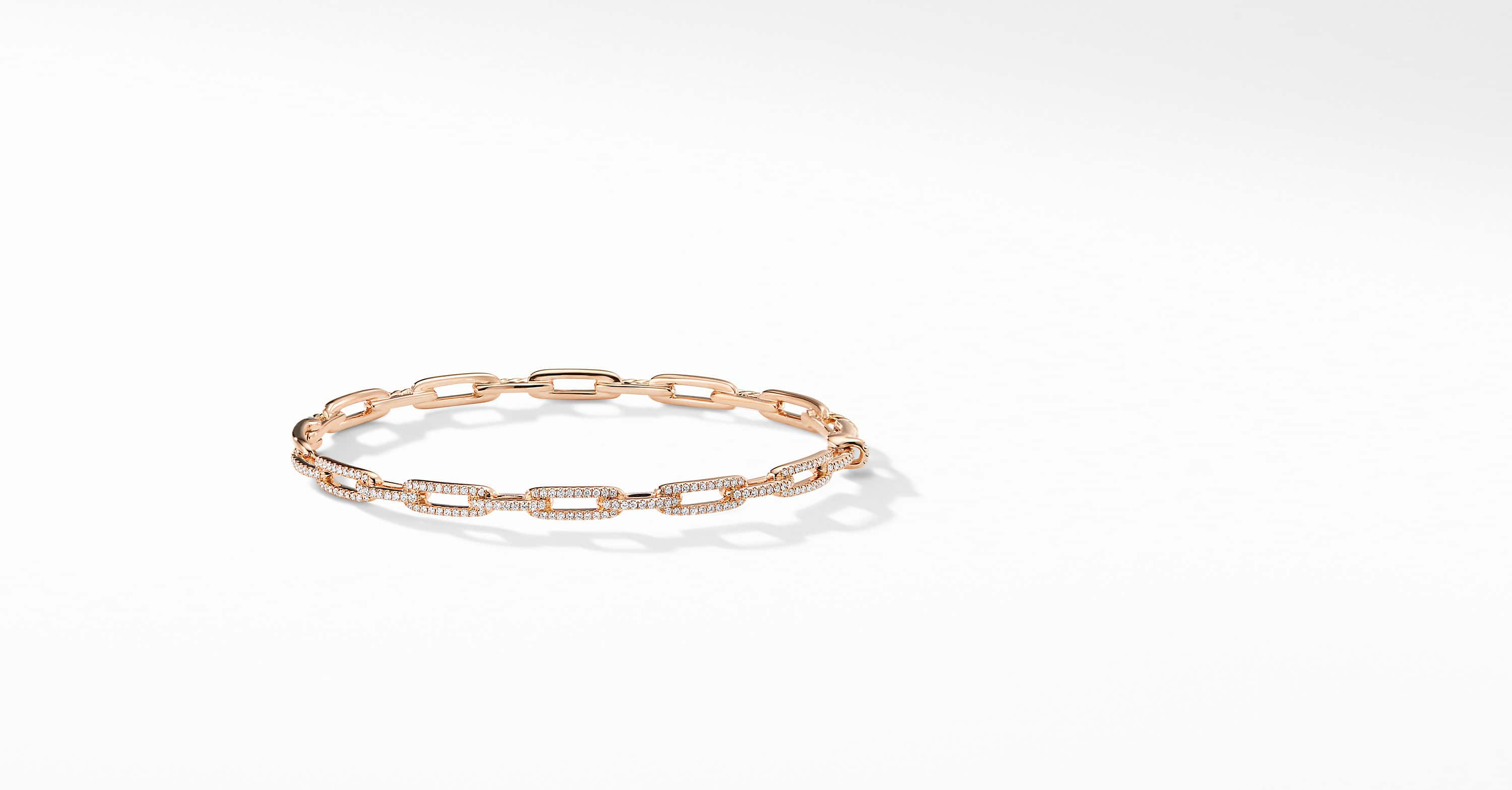 Bracelet Stax à maillons en or rose 18K, avec diamants, 4 mm