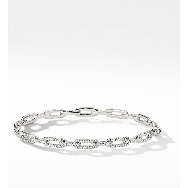 Stax Chain Link Bracelet with Diamonds in 18K White Gold, 4mm