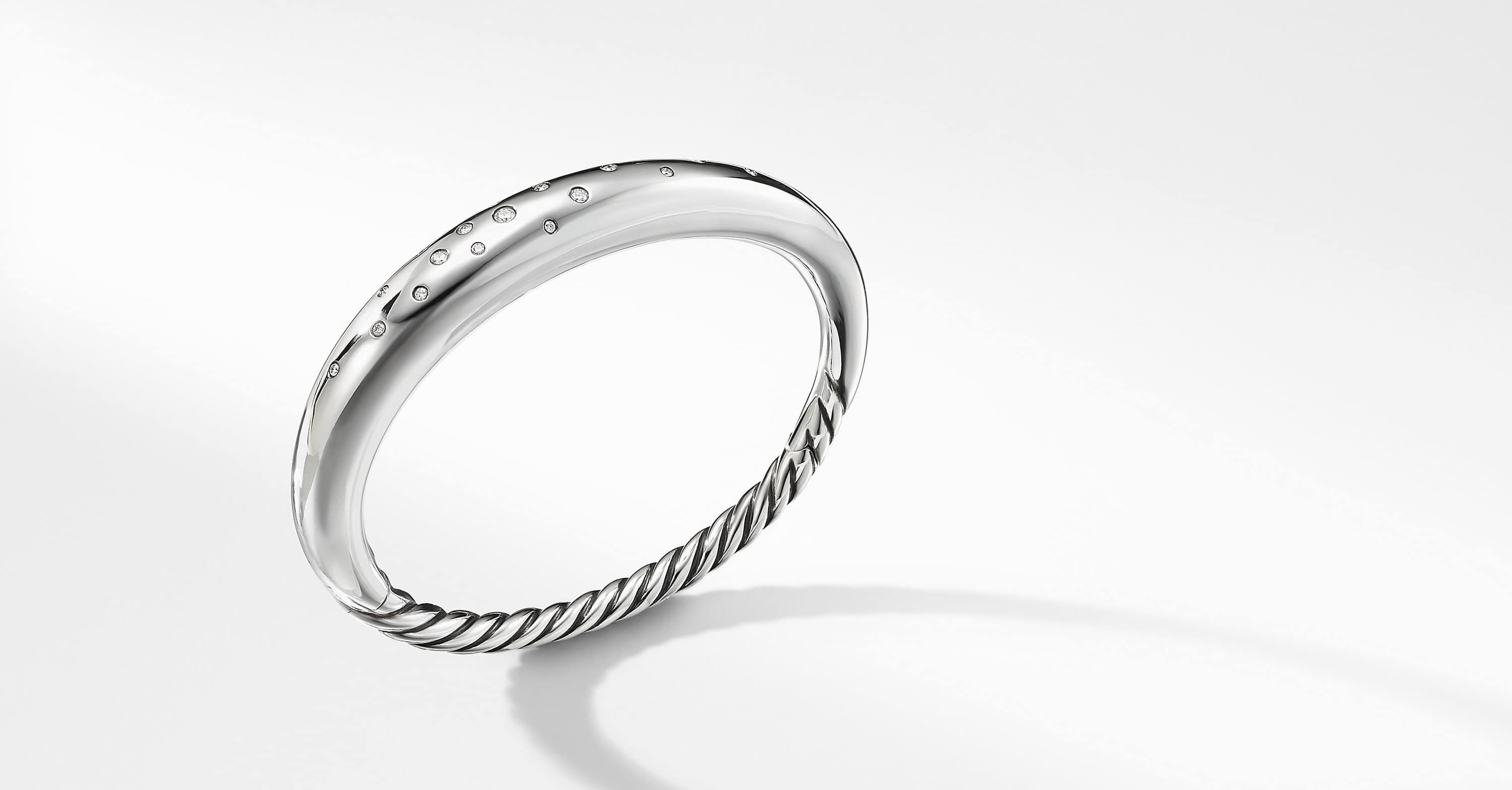 Pure Form Smooth Bracelet with Diamonds, 9.5mm
