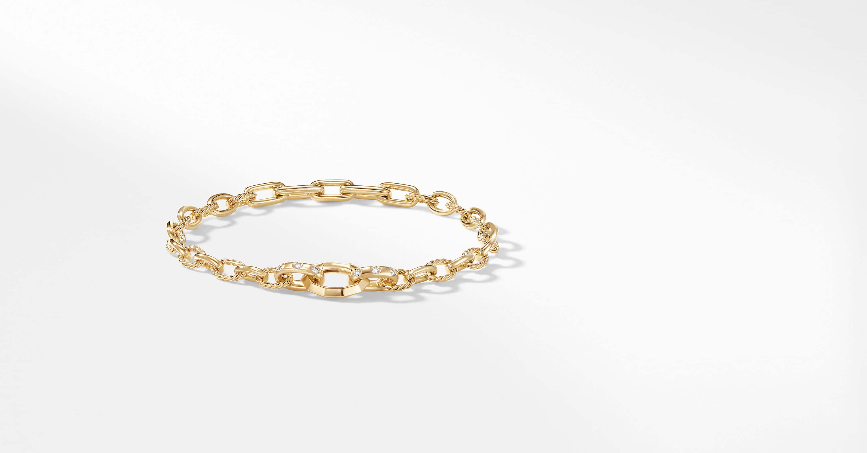 Stax Chain Bracelet with Diamonds in 18K Gold
