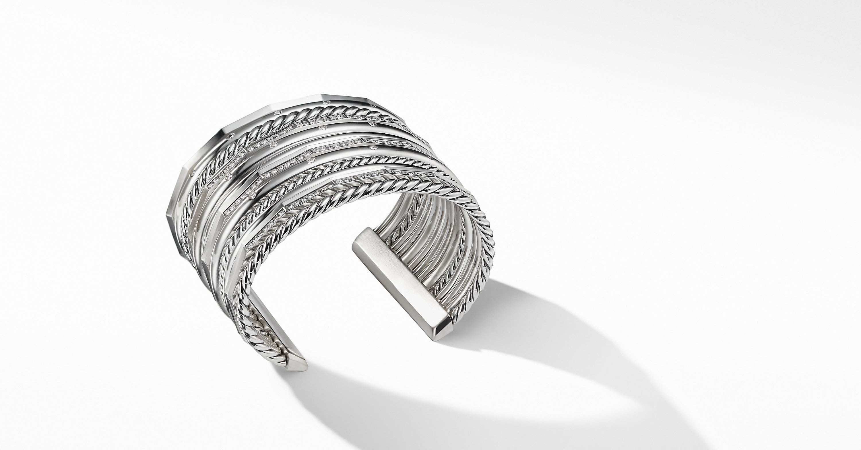 Stax Wide Cuff Bracelet with Diamonds, 54mm