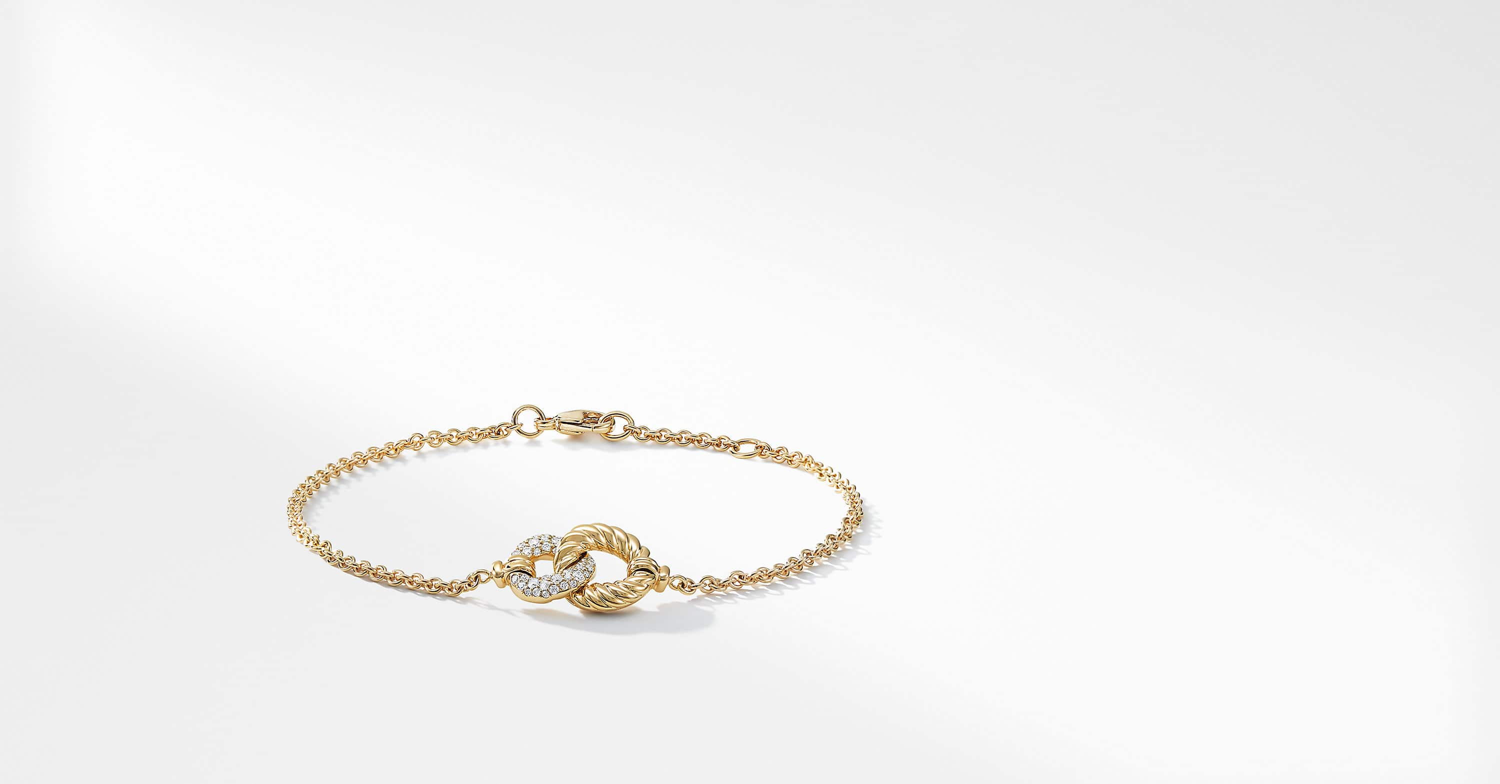 Belmont Curb Link Pendant Bracelet with Diamonds in 18K Gold