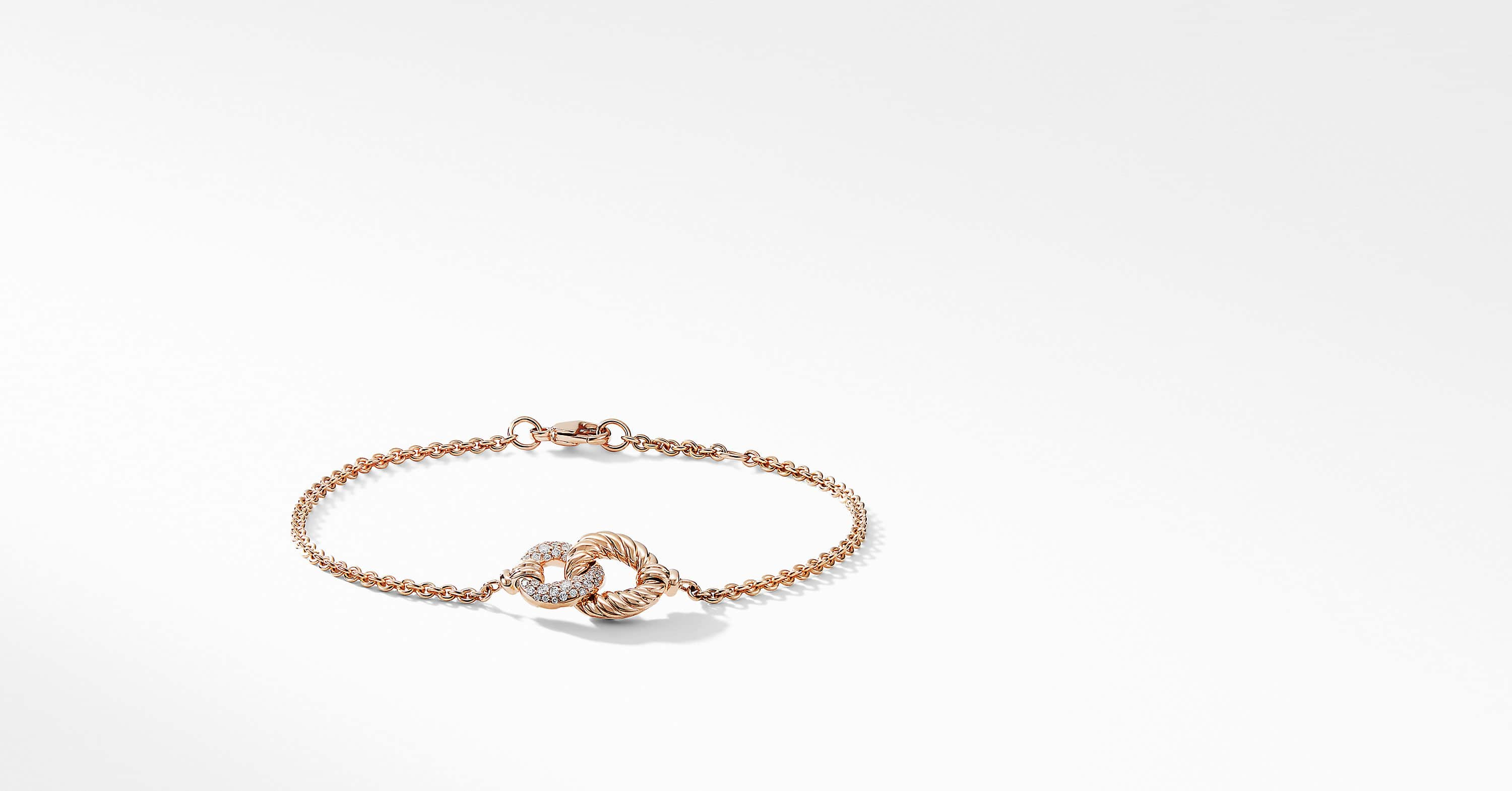 Belmont Curb Link Pendant Bracelet with Diamonds in 18K Rose Gold