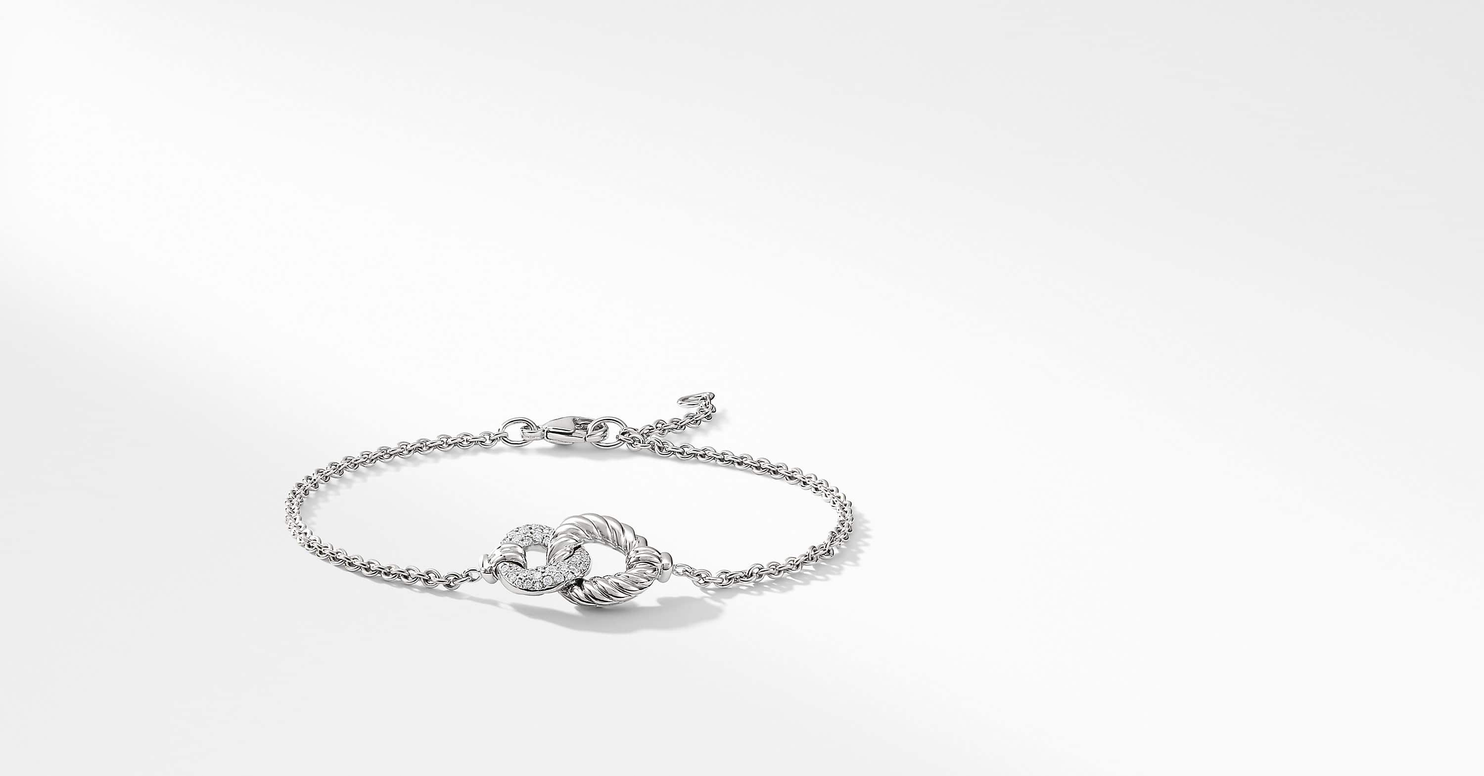 Belmont Curb Link Pendant Bracelet with Diamonds in 18K White Gold