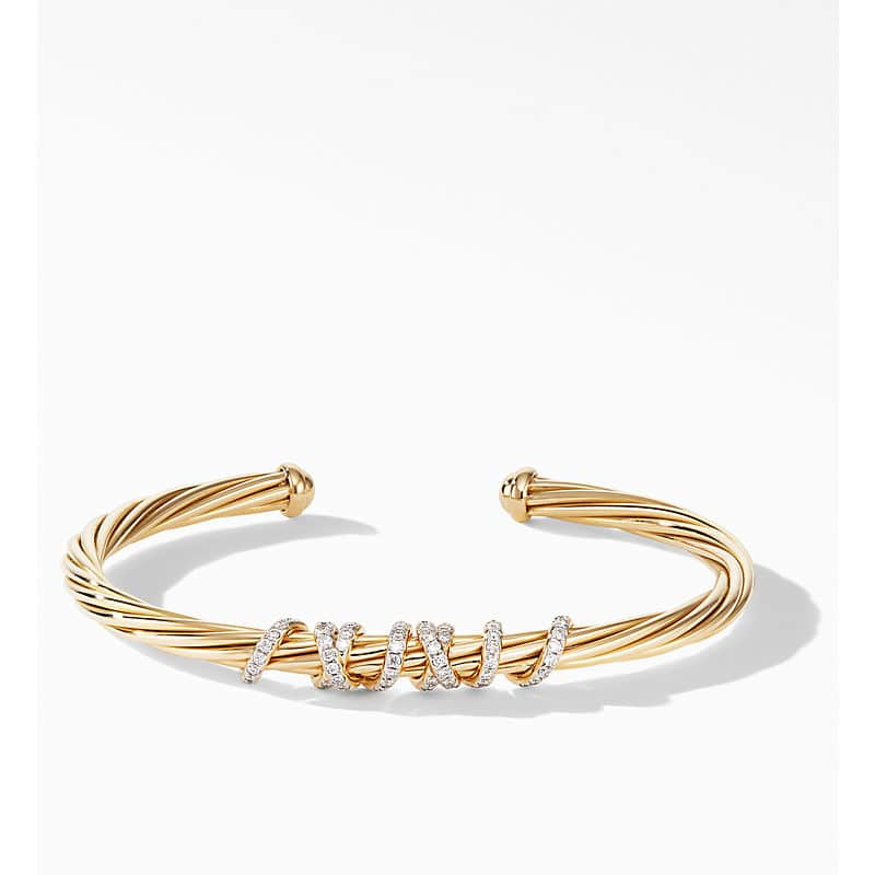 Helena Station Bracelet in 18K Yellow Gold with Diamonds, 4mm