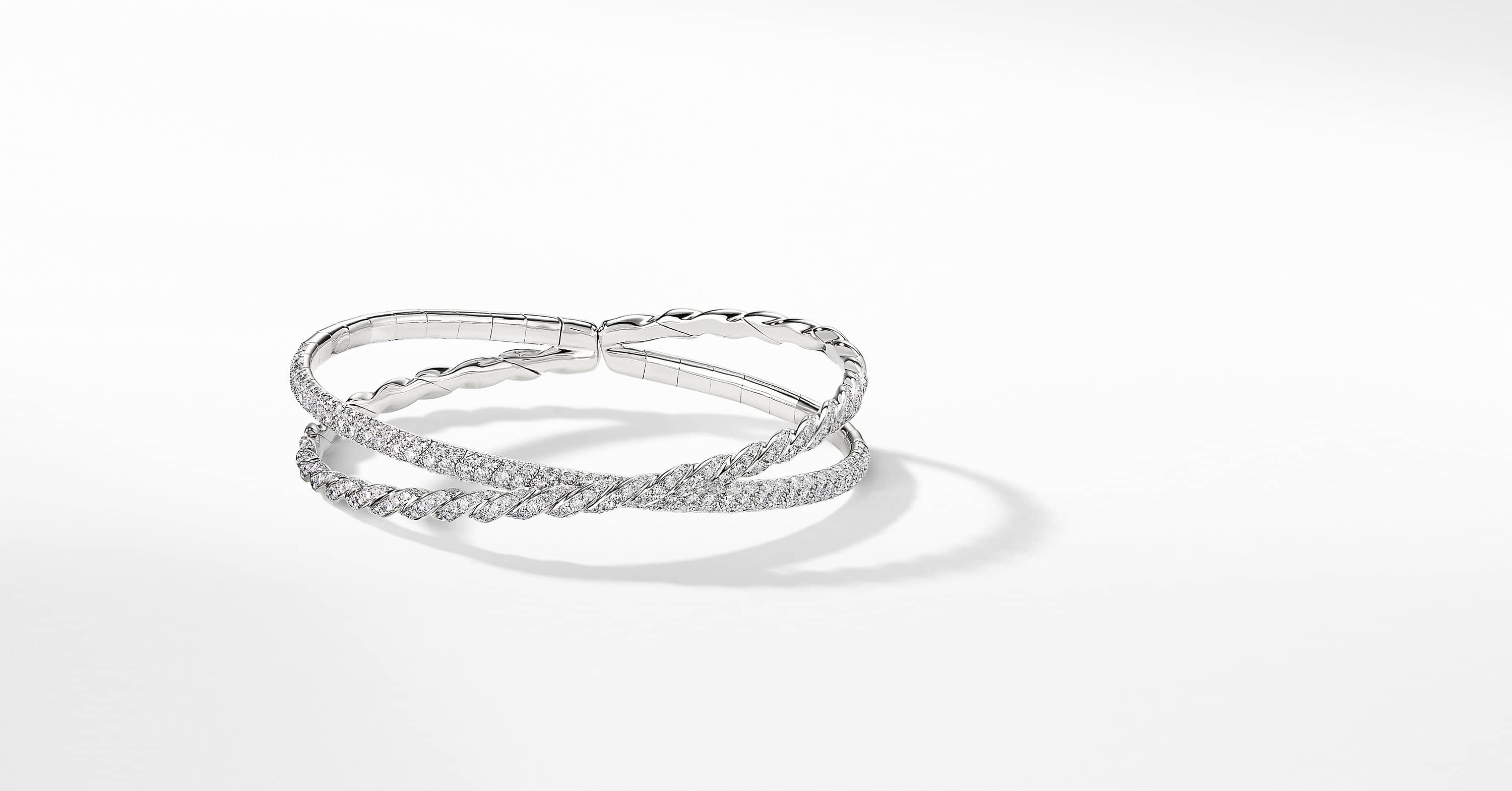 Pavéflex Two Row Bracelet with Diamonds in 18K White Gold