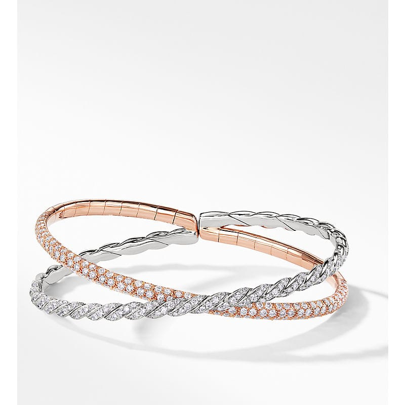 Pavéflex Two Row Bracelet with Diamonds in 18K White and Rose Gold