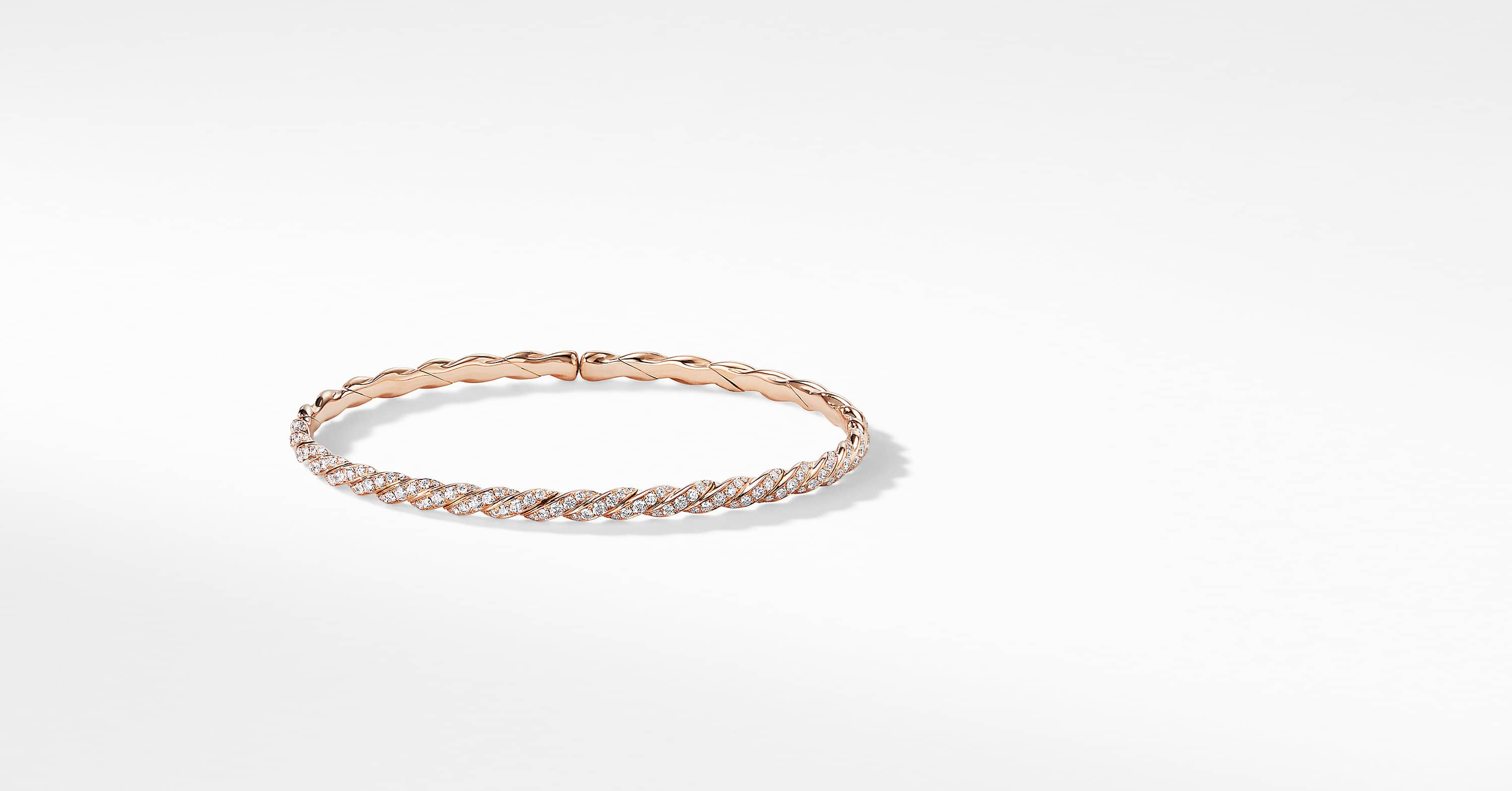 Pavéflex Single Row Bracelet with Diamonds in 18K Rose Gold