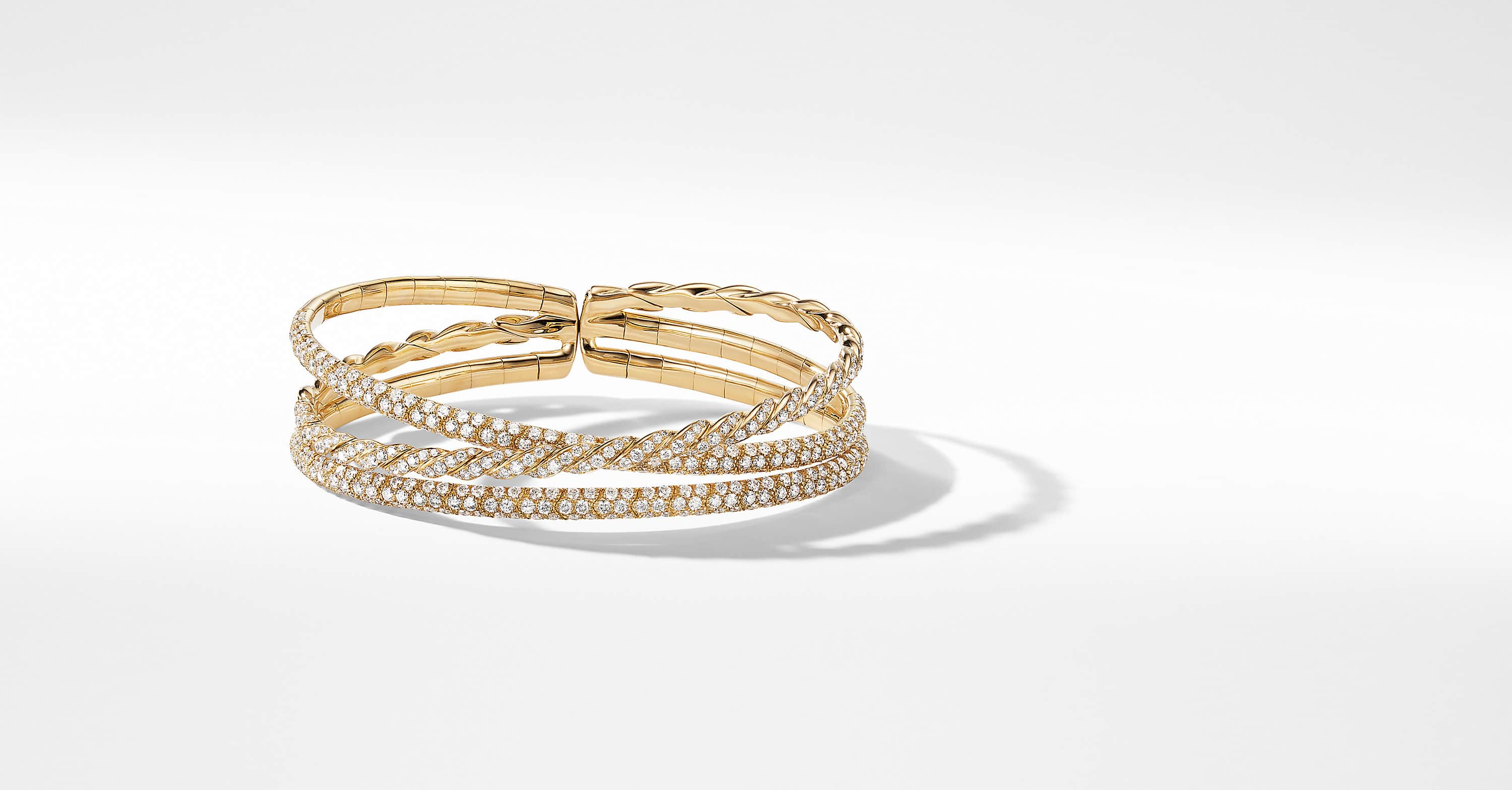 Pavéflex Three Row Bracelet  in 18K Yellow Gold with Diamonds