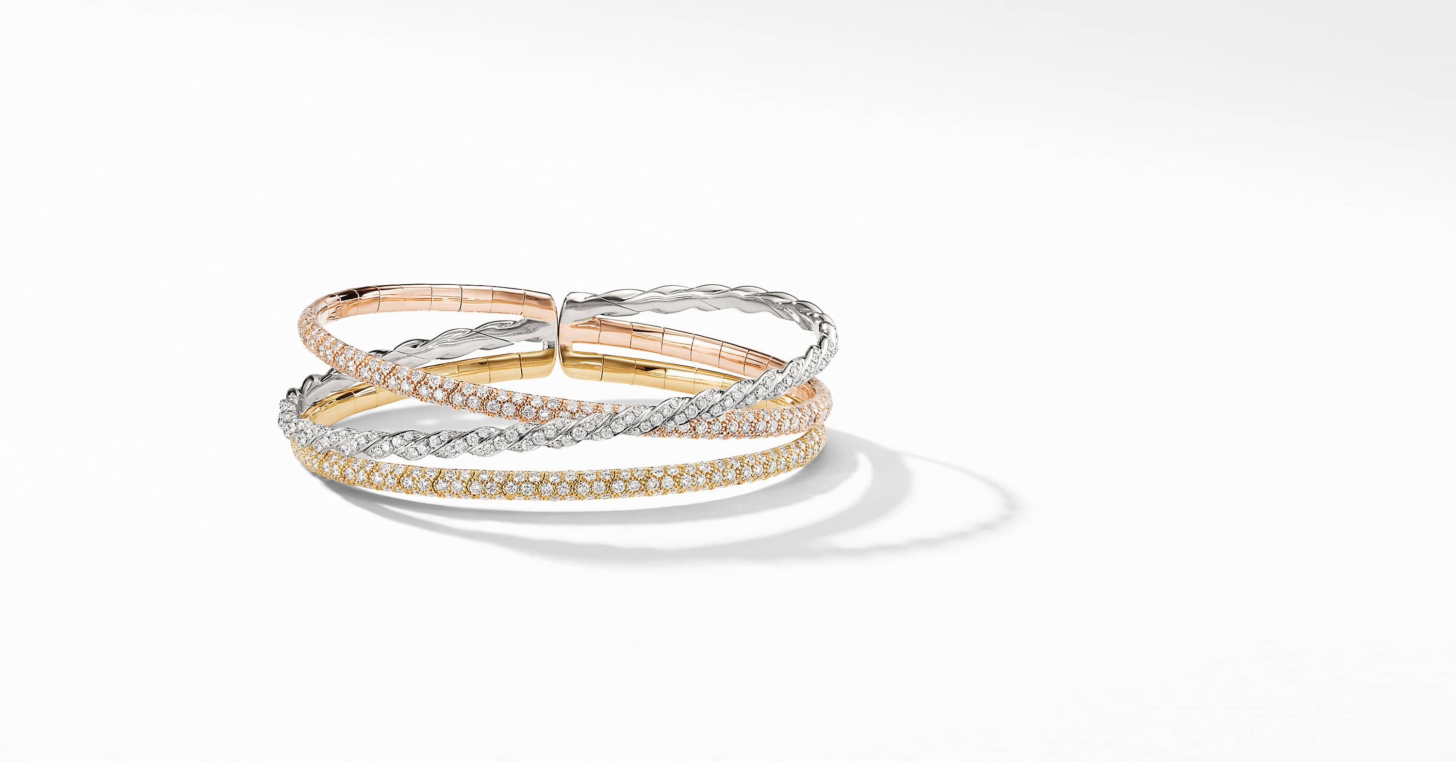 Pavéflex Three Row Bracelet with Diamonds in 18K Gold