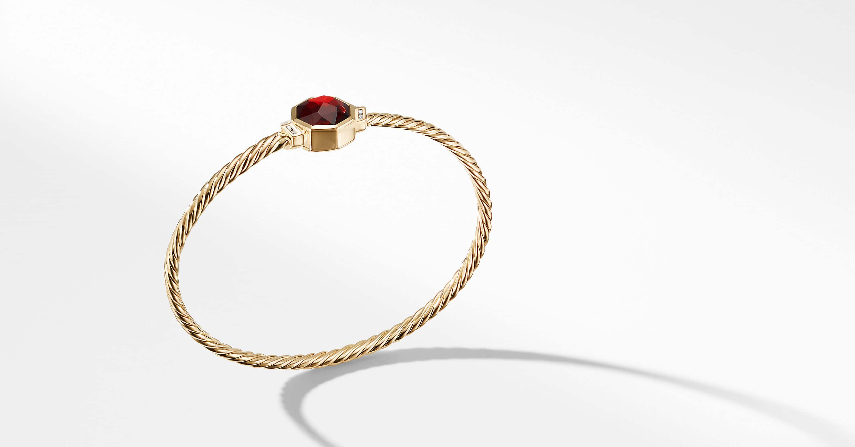 Guilin Octagon Bracelet with Diamonds in 18K Gold, 4mm