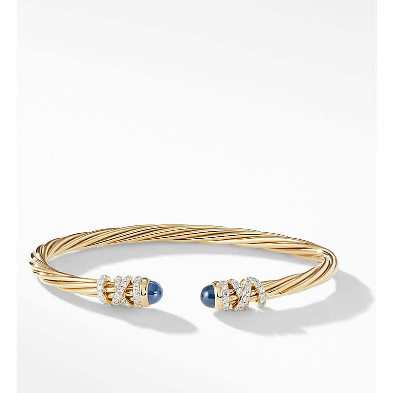 Helena End Station Bracelet in 18K Yellow Gold with Diamonds, 4mm