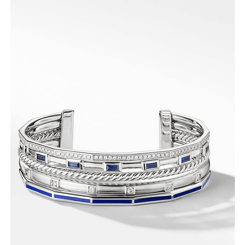 Stax Cuff with Diamonds in 18K White Gold