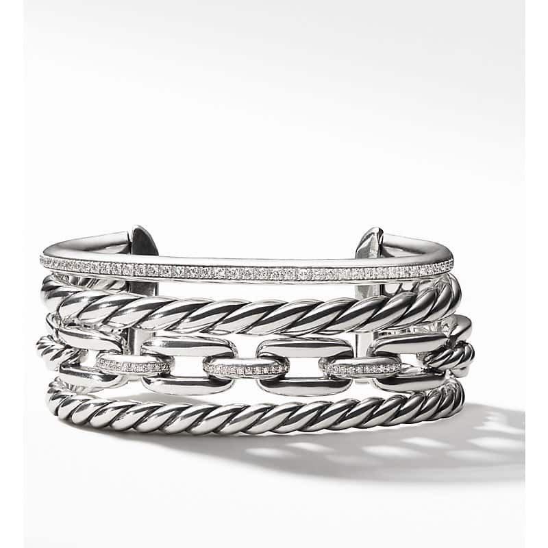 Wellesley Link Cuff with Diamonds, 27mm