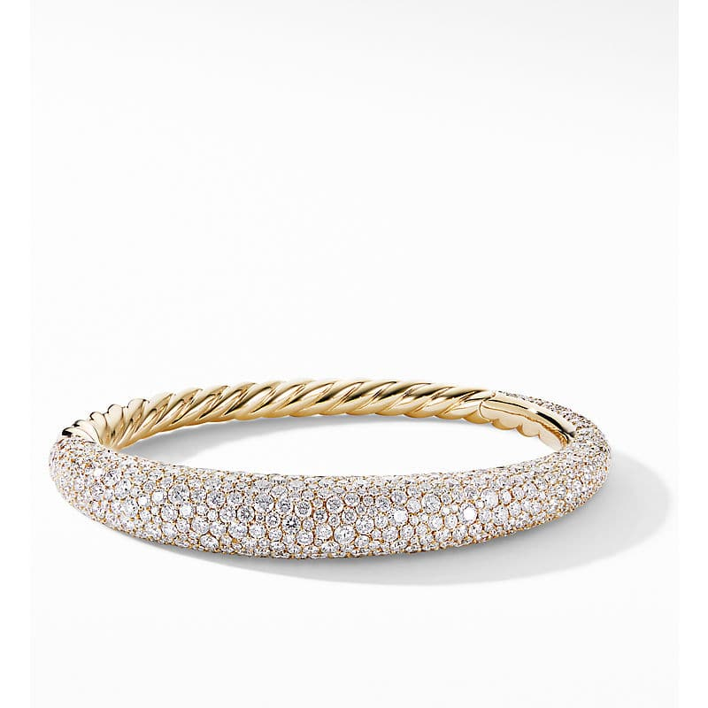 Pure Form Full Pave Smooth Bracelet in 18K Gold