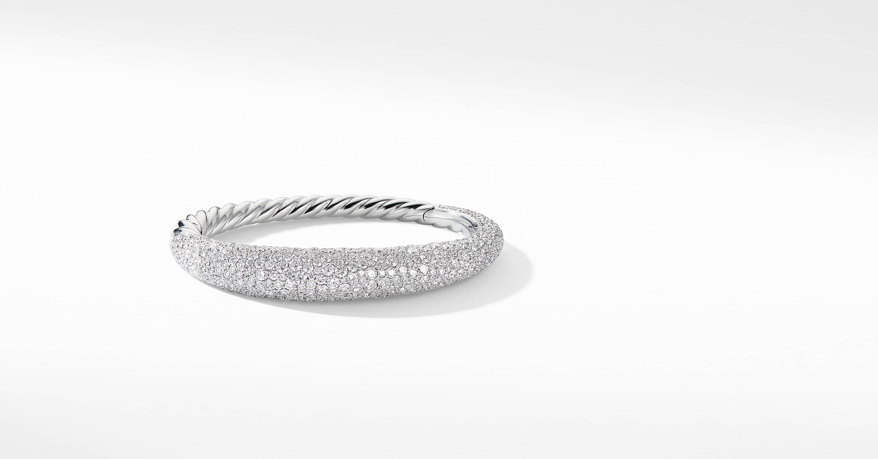 Pure Form Full Pave Smooth Bracelet in 18K White Gold