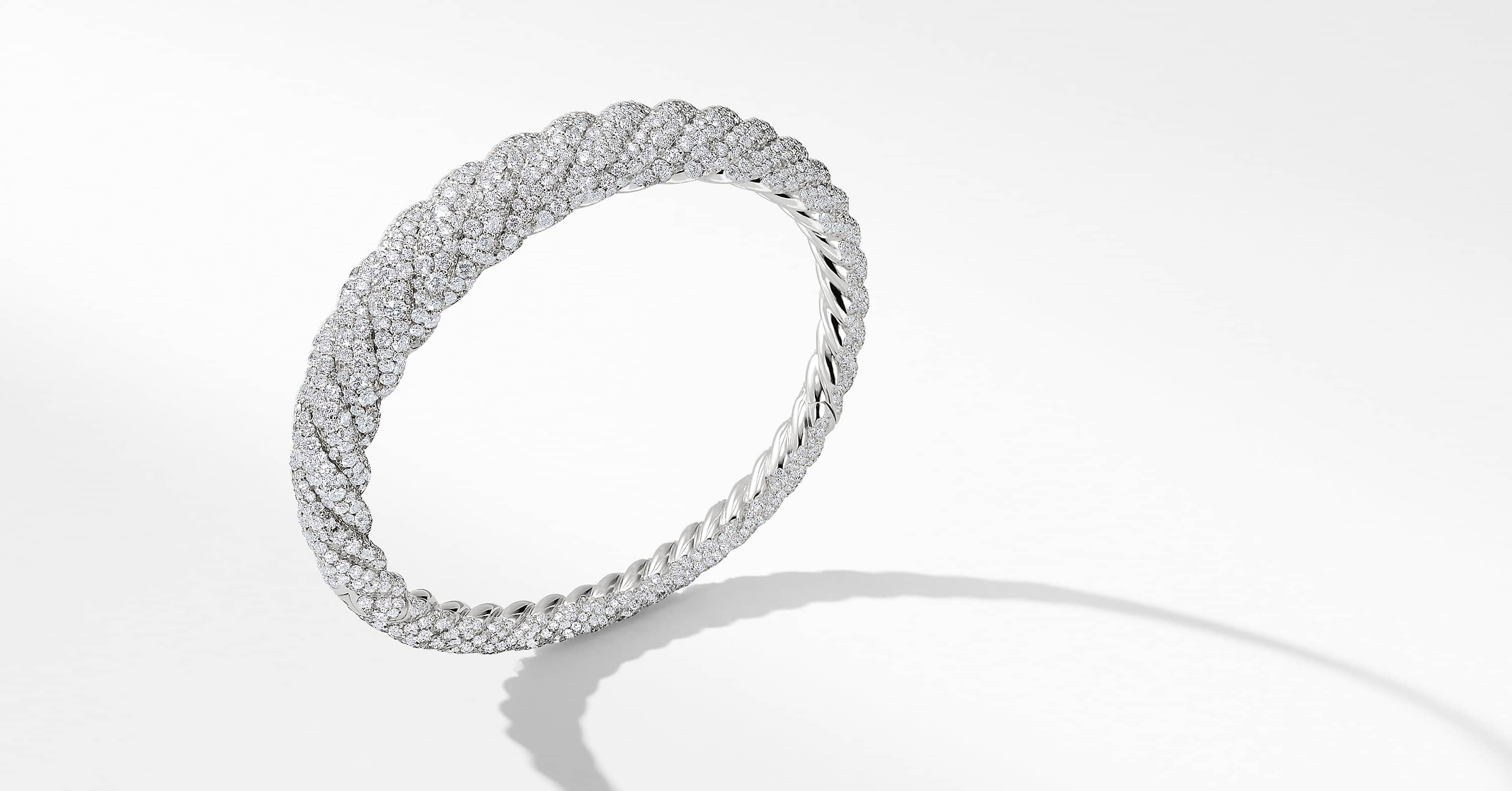Pure Form® Cable Diamond Bracelet in 18K White Gold, 9.5mm
