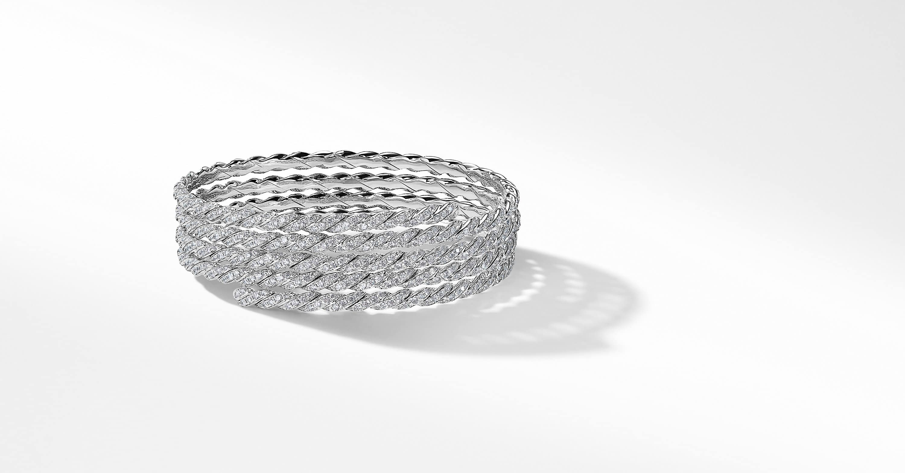 Pavéflex Coil Bracelet with Diamonds in 18K White Gold