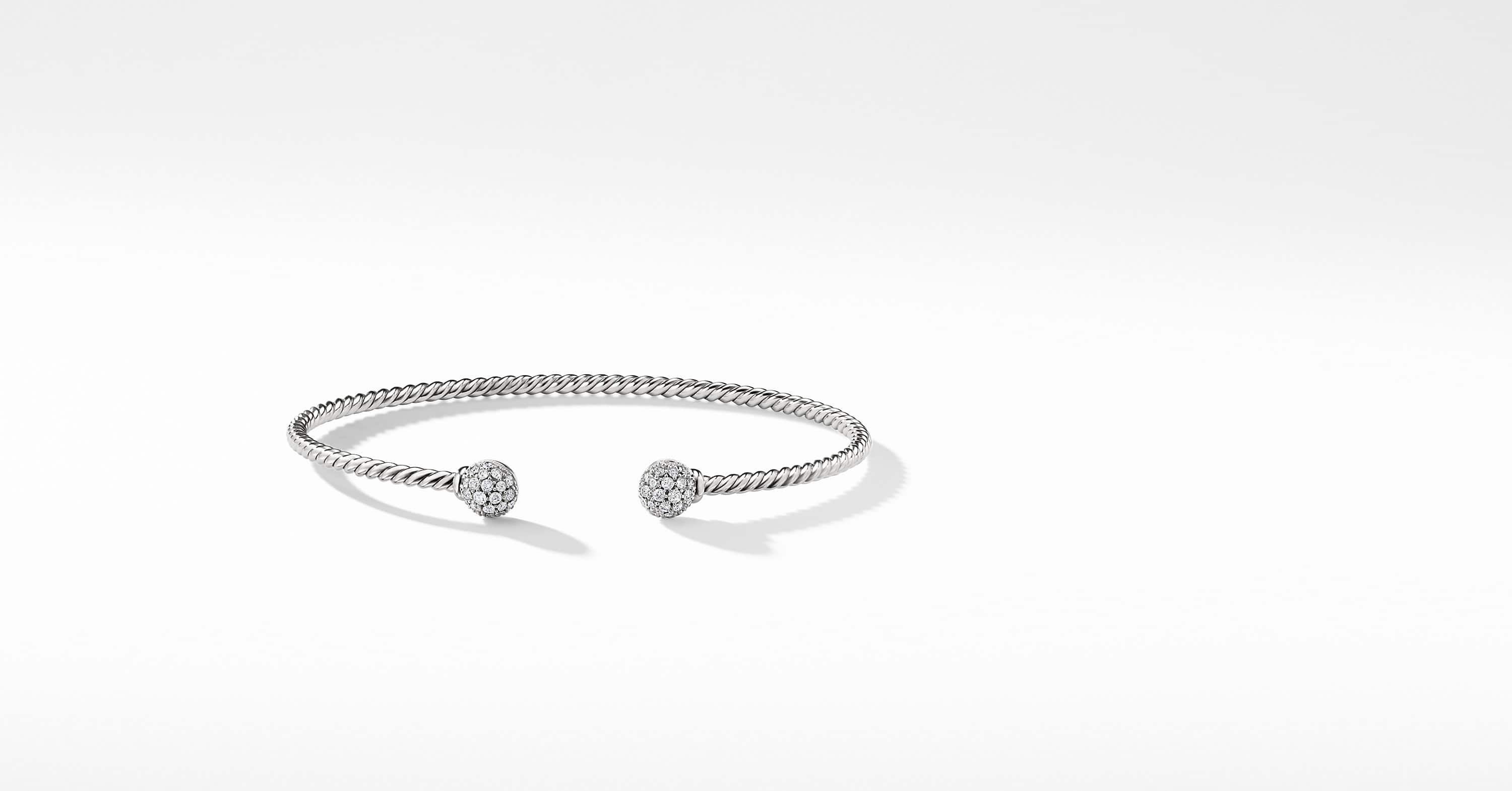 Petite Solari Bead Bracelet with Diamonds in 18K White Gold