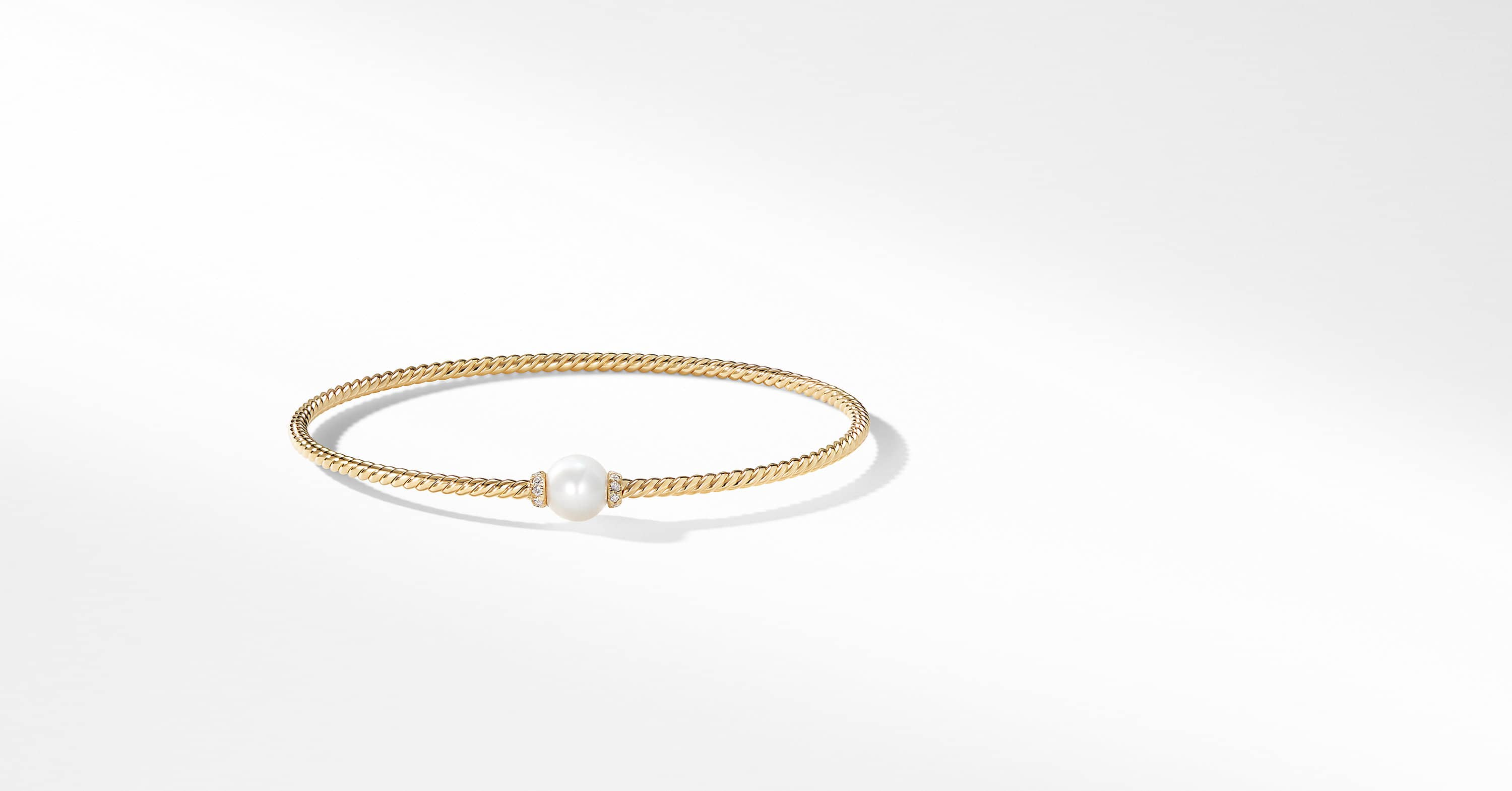 Petite Solari Station Bracelet with Cultured Pearl and Diamonds in 18K Gold