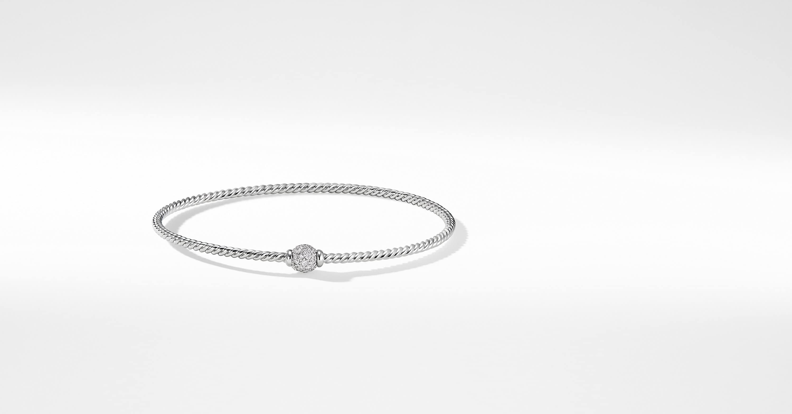 Petite Solari Station Pave Bracelet with Diamonds in 18K White Gold