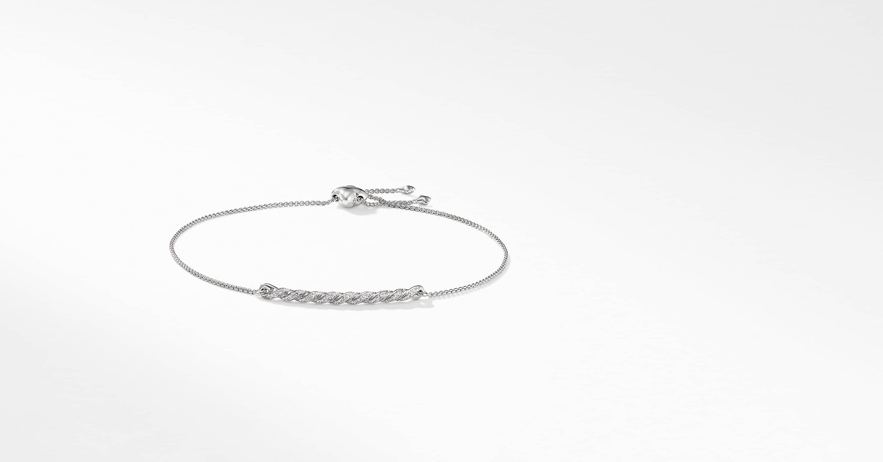 Pavéflex Station Bracelet with Diamonds in 18K White Gold