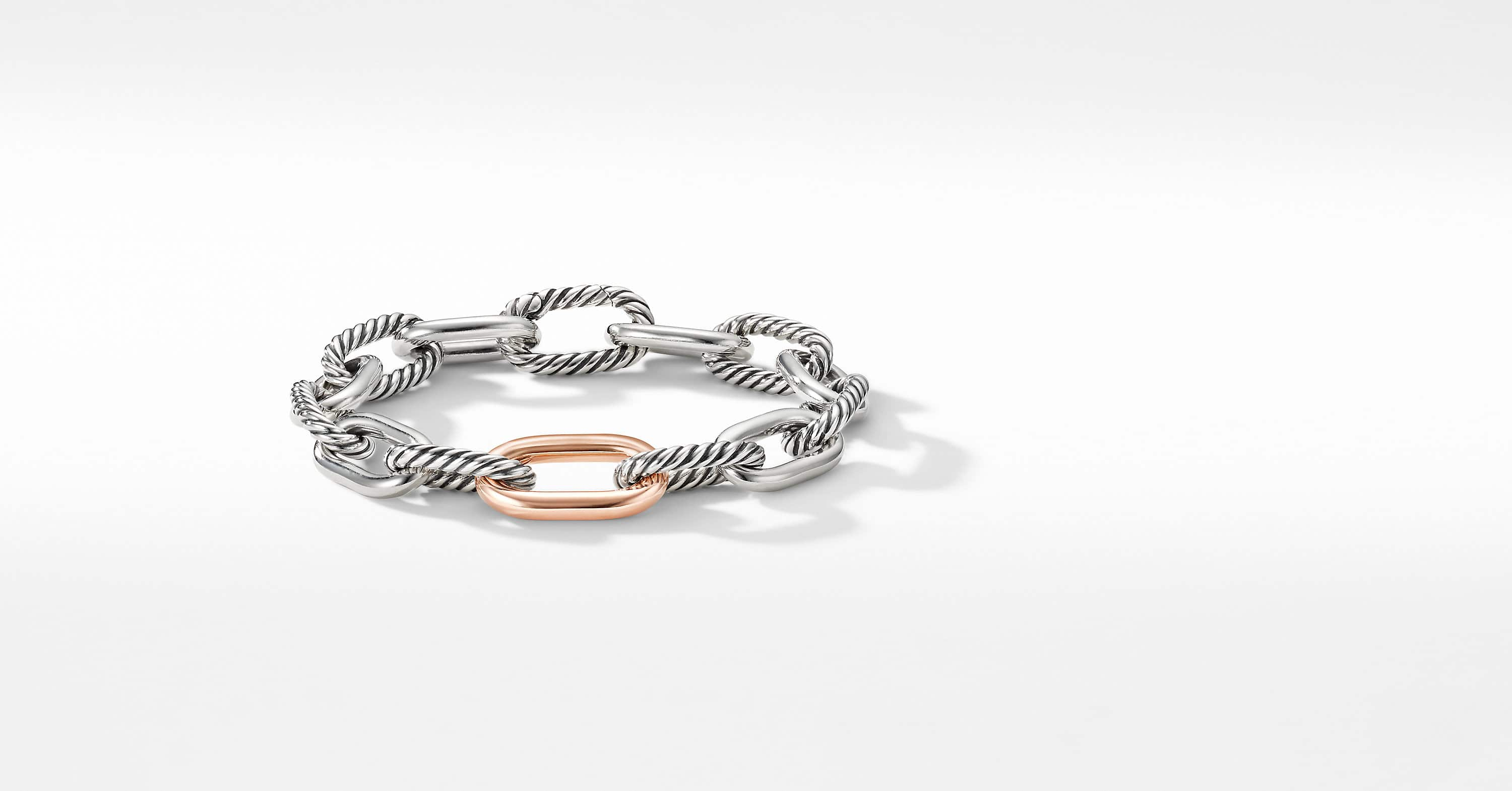 DY Madison Chain Medium Bracelet with 18K Rose Gold, 11mm