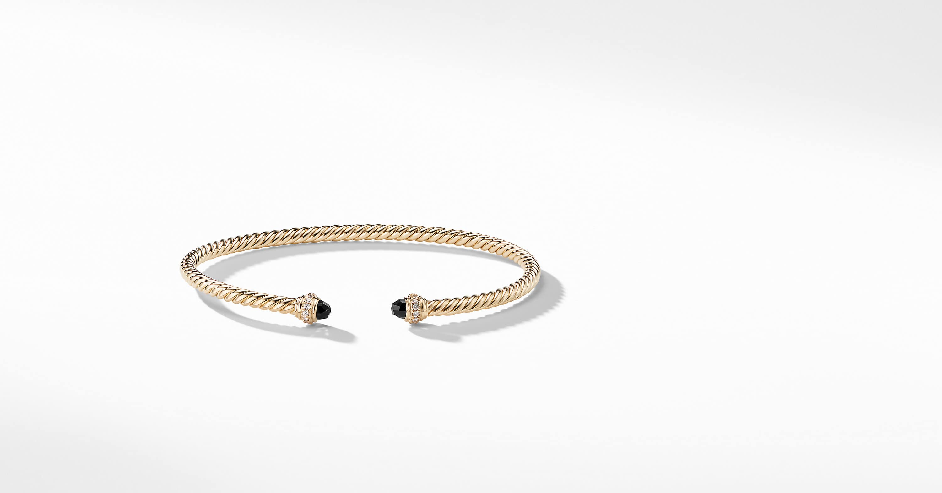 Cable Spira Bracelet with Diamonds in 18K Gold, 3mm