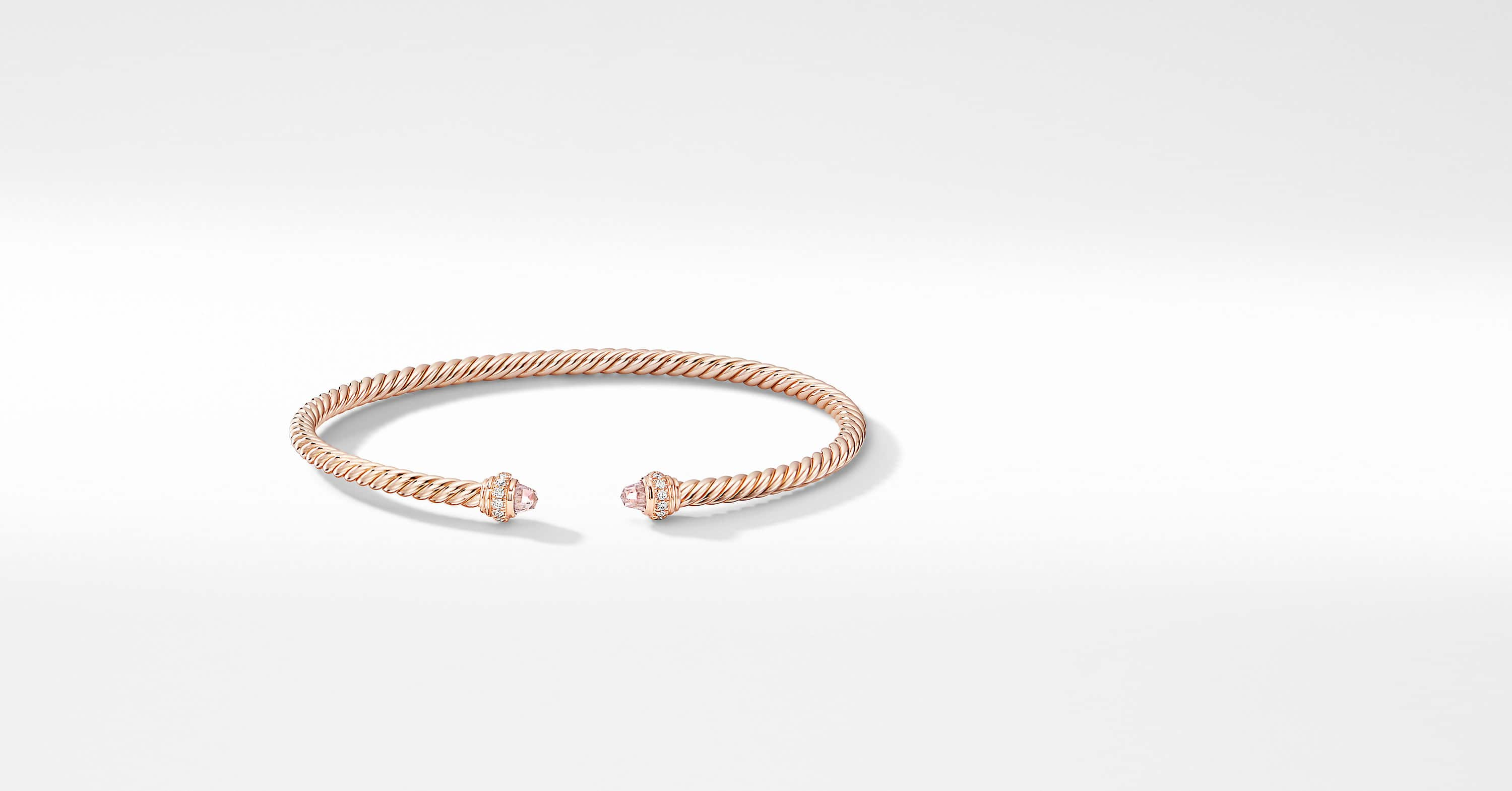 Cable Spira Bracelet in 18K Rose Gold with Diamonds, 3mm