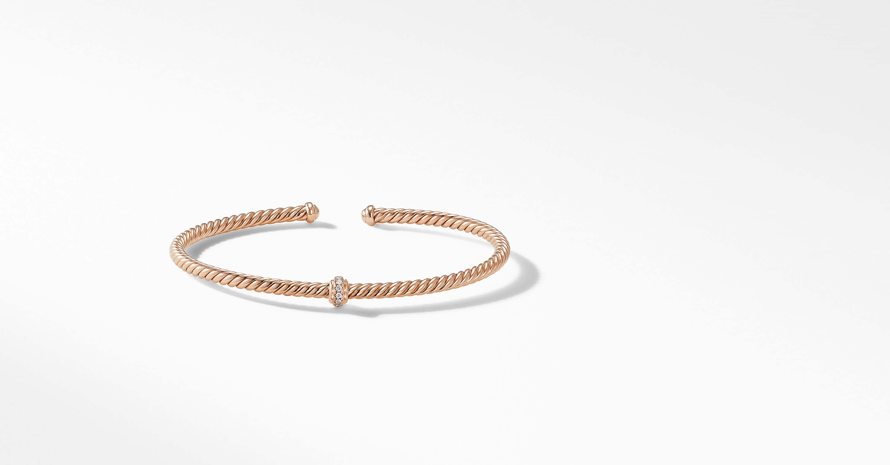Cable Spira Center Station Bracelet in 18K Rose Gold with Diamonds, 3mm