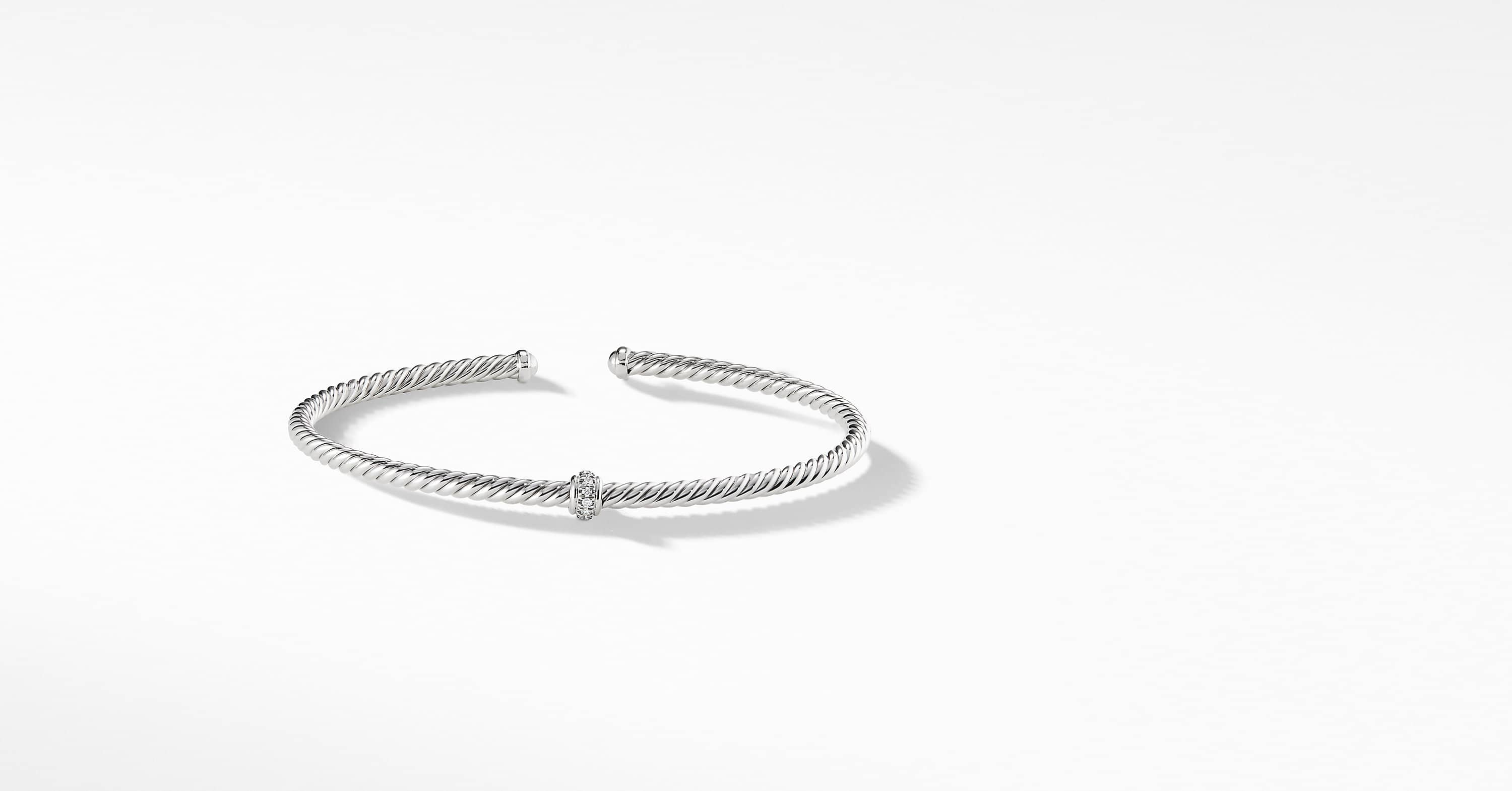 Cable Spira Center Station Bracelet in 18K White Gold with Diamonds, 3mm
