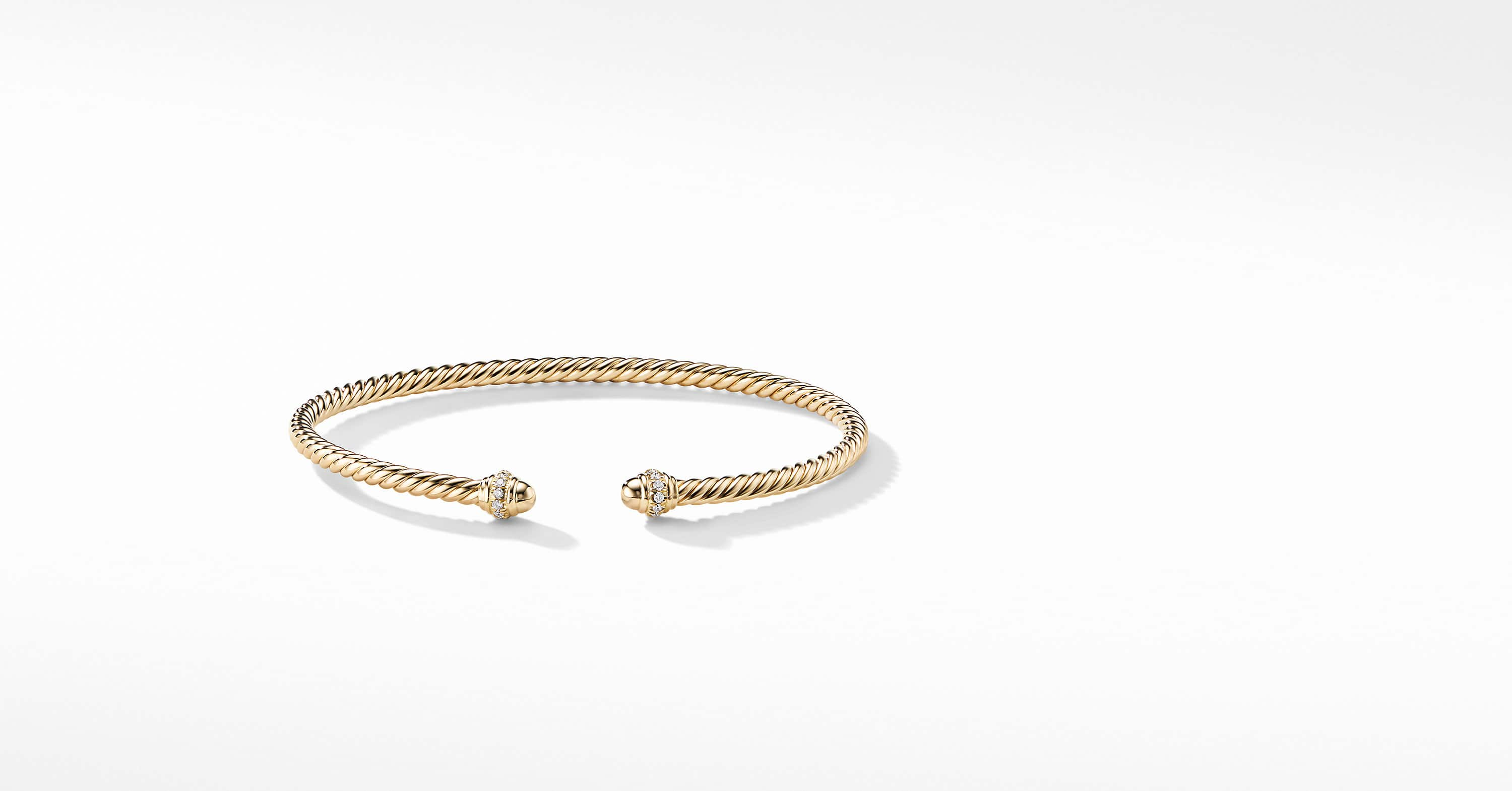 Bracelet Spira « Cable » en or 18 carats et diamants, 3 mm
