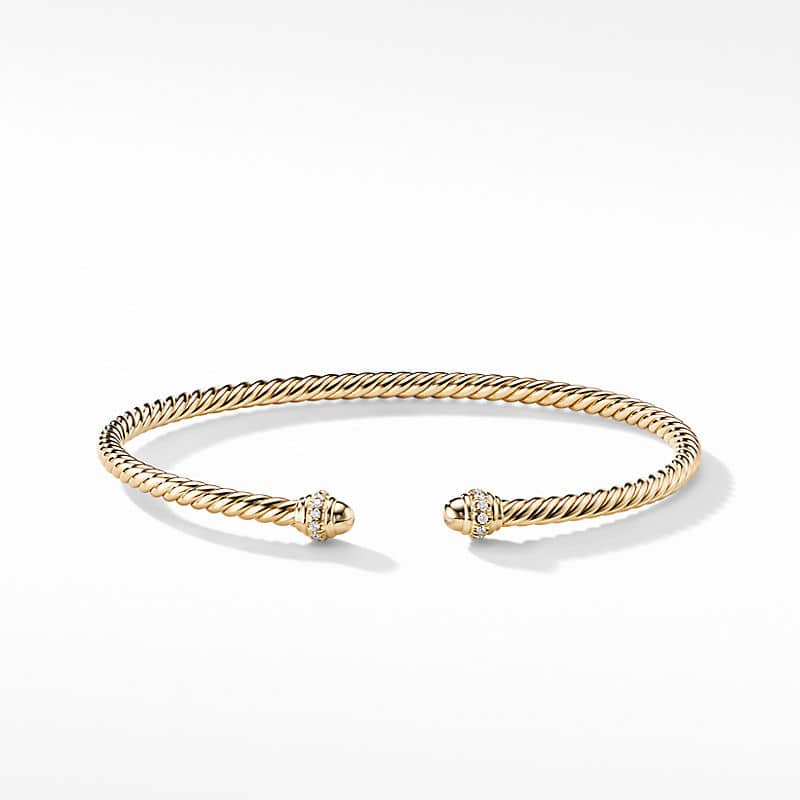 Cablespira® Bracelet in 18K Yellow Gold with Pavé