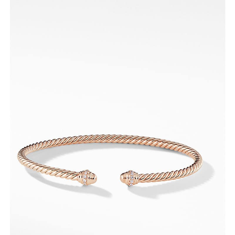 Cablespira Bracelet in 18K Rose Gold with Diamonds, 3mm