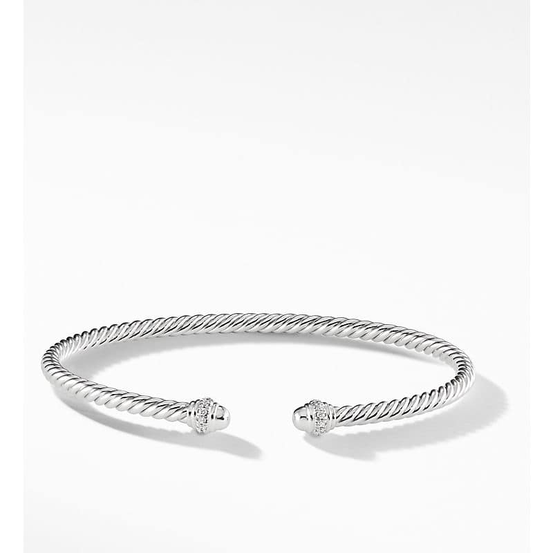 Cable Spira Bracelet in 18K White Gold with Diamonds, 3mm