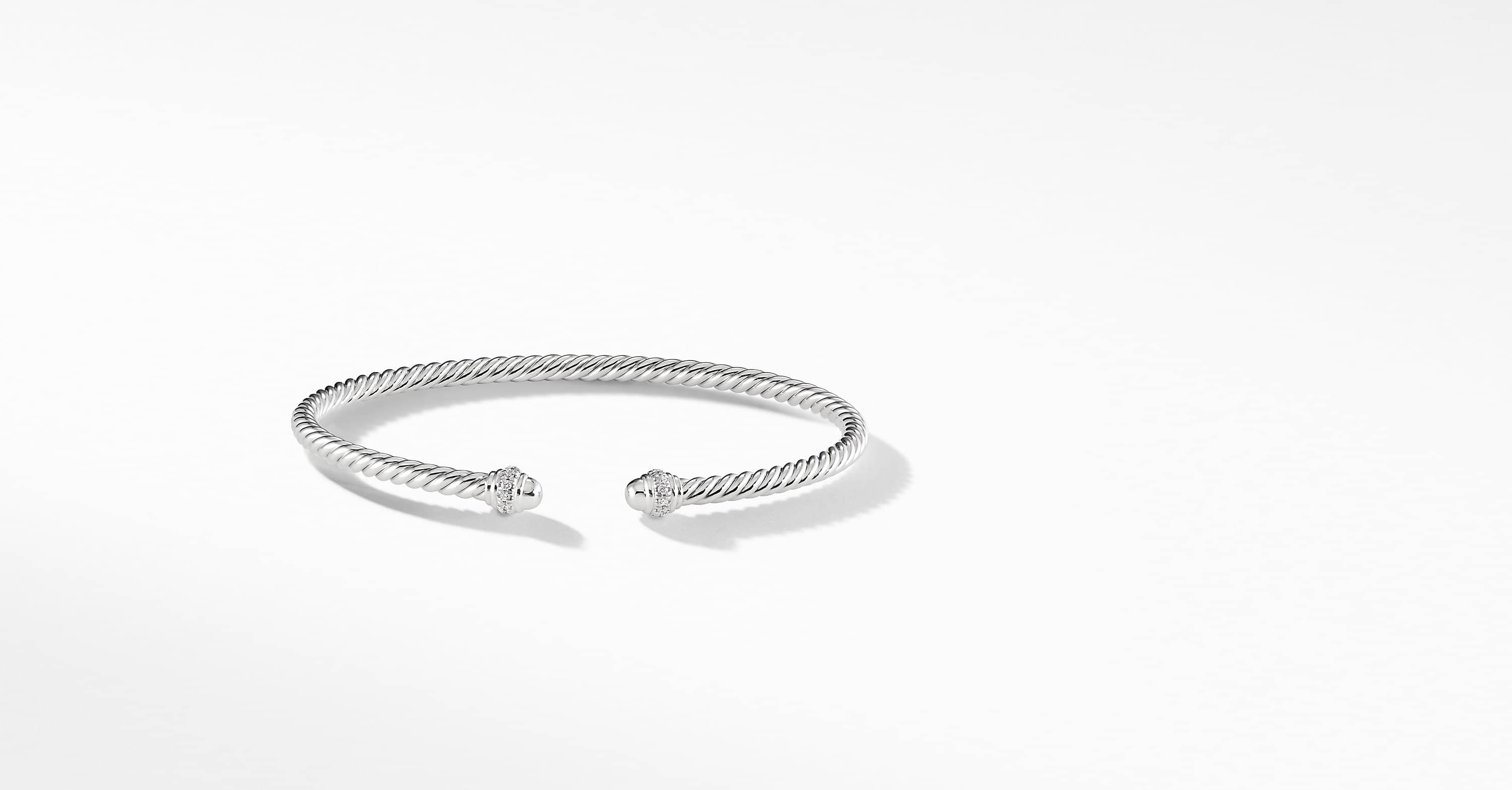 Bracelet « Cable » Spira en or blanc 18 carats et diamants, 3 mm