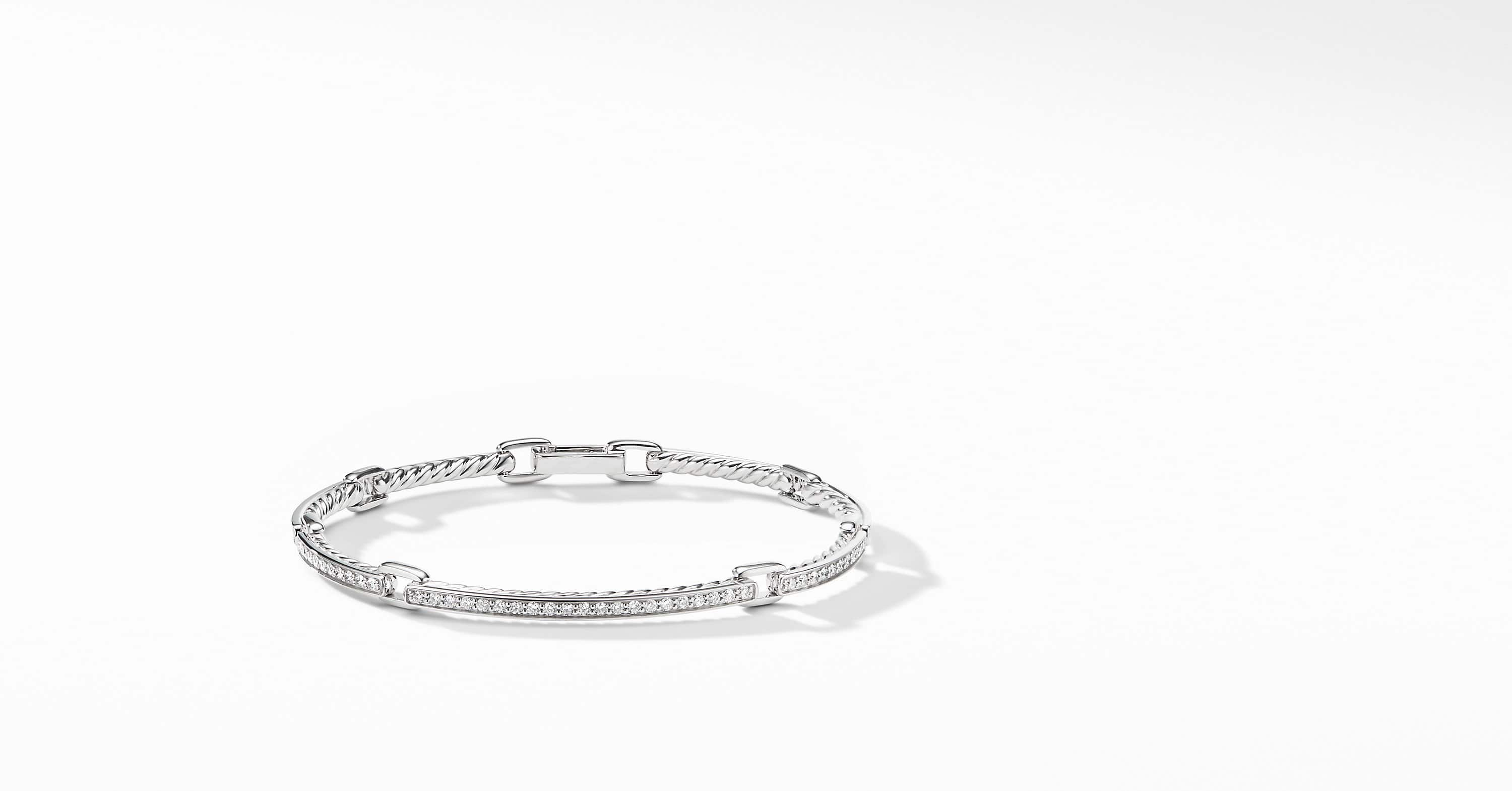 Petite Pavé Link Bracelet with Diamonds in 18K White Gold