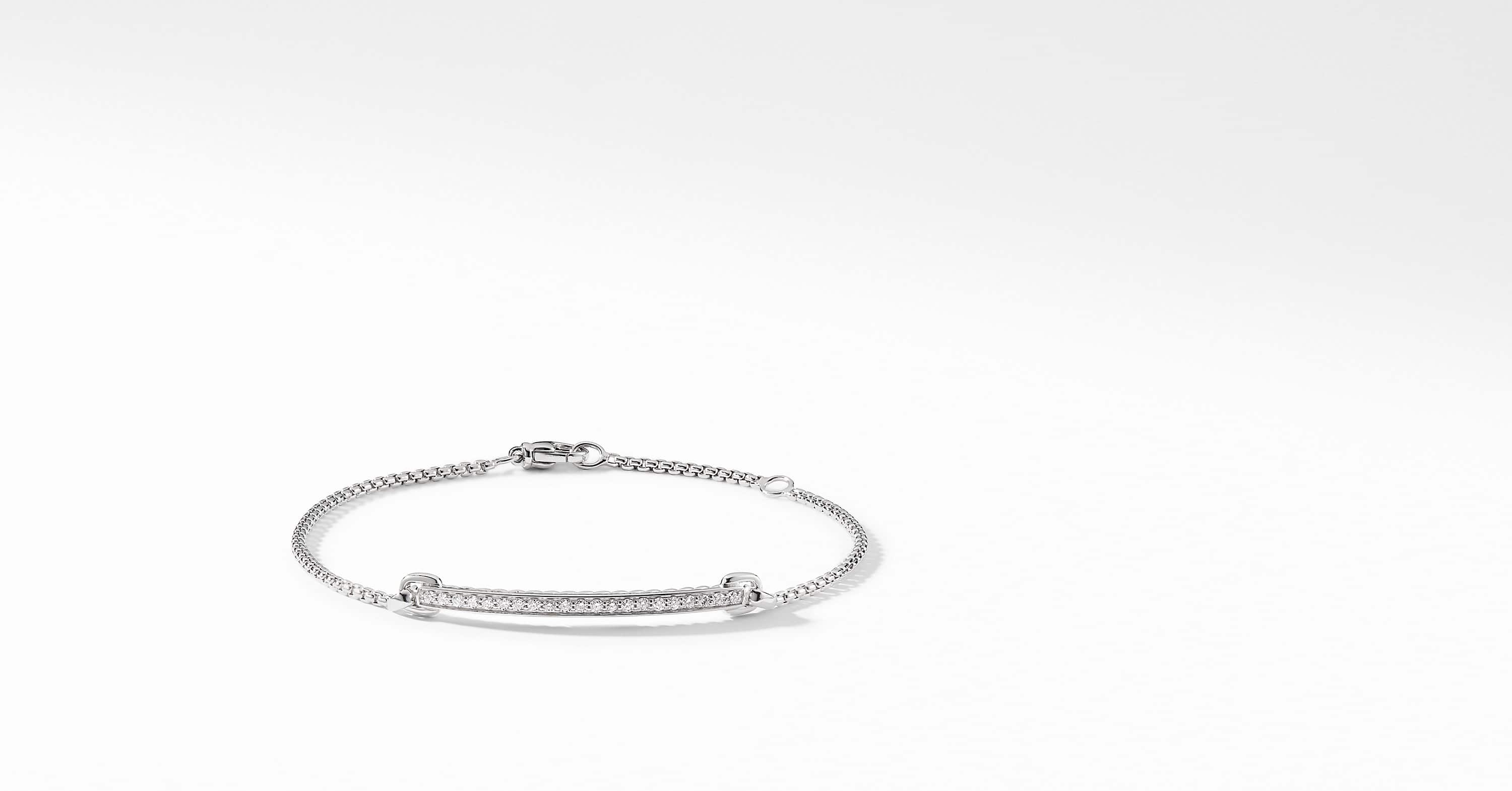 Petite Pavé Station Chain Bracelet with Diamonds in 18K White Gold