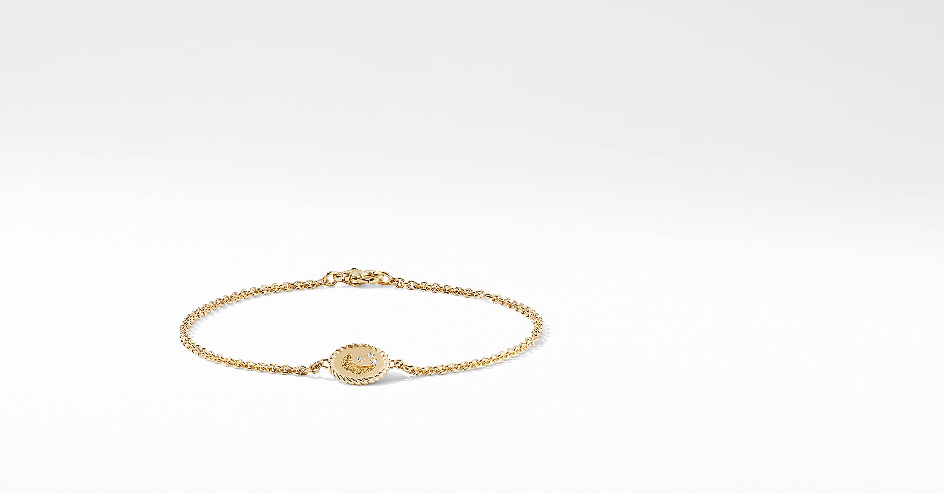 Cable Collectibles Moon and Stars Bracelet with Diamonds in 18K Gold