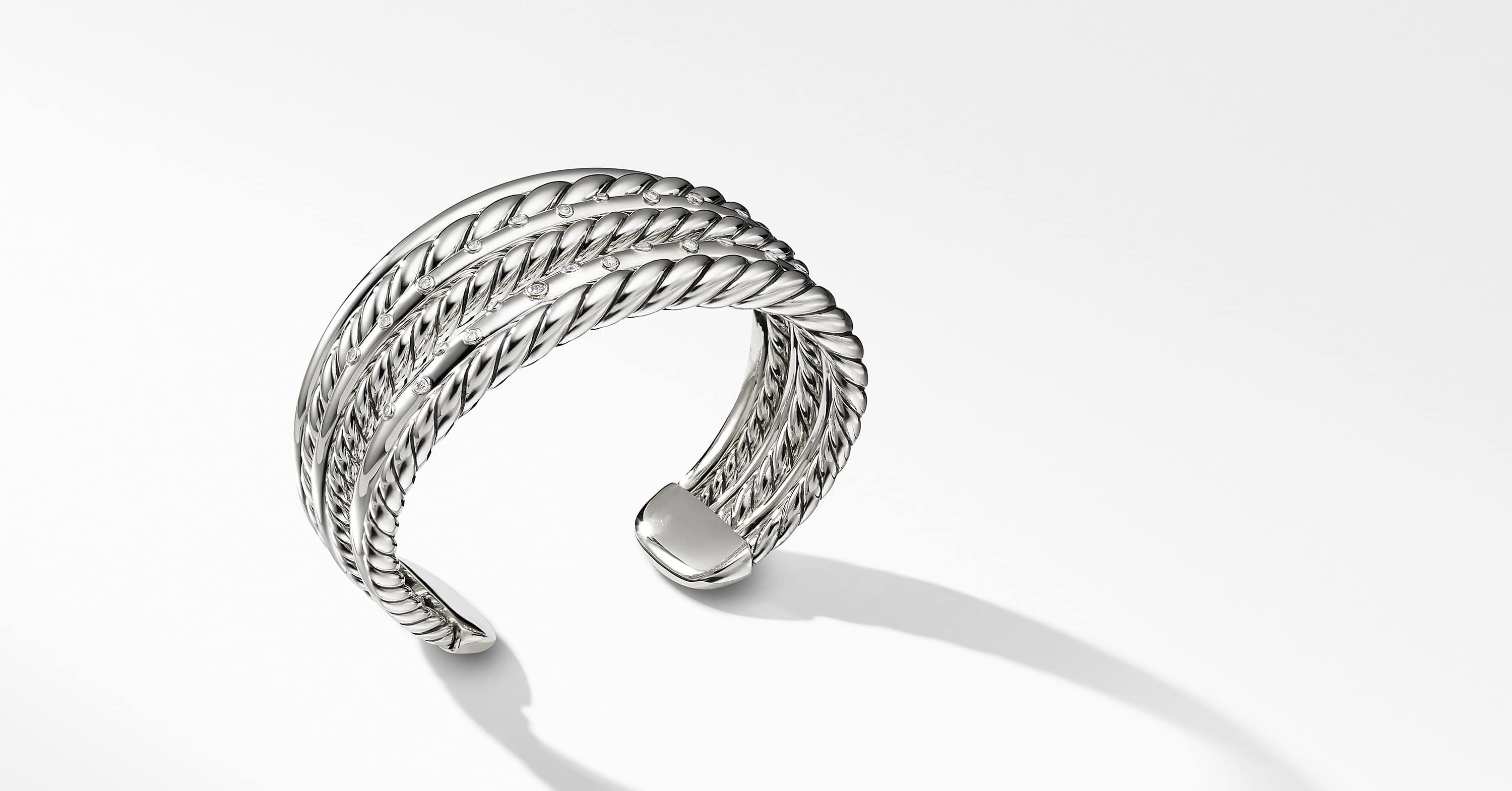 Pure Form Cuff Bracelet with Diamonds